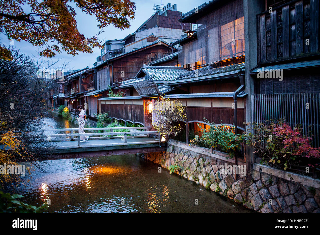 Shirakawa-minami-dori, Gion district, Kyoto. Kansai, Japan. Stock Photo