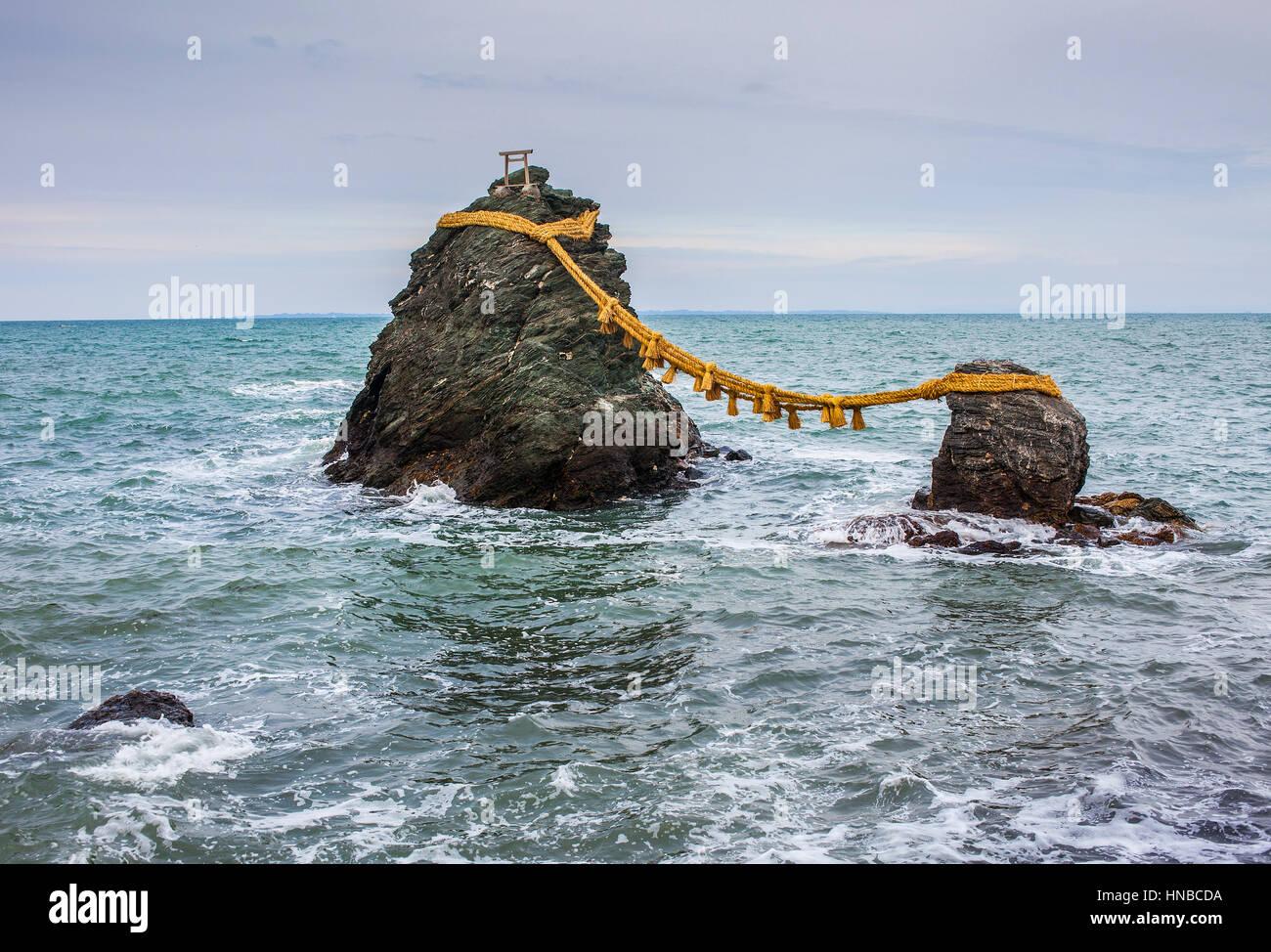 Meoto-Iwa, Wedded Rocks, off the coast of Futamigaura Beach, Futami Town on the in Mie Prefecture, Japan. - Stock Image
