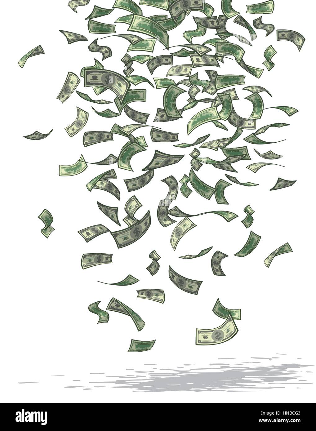 Vector illustration of money raining from above. - Stock Image