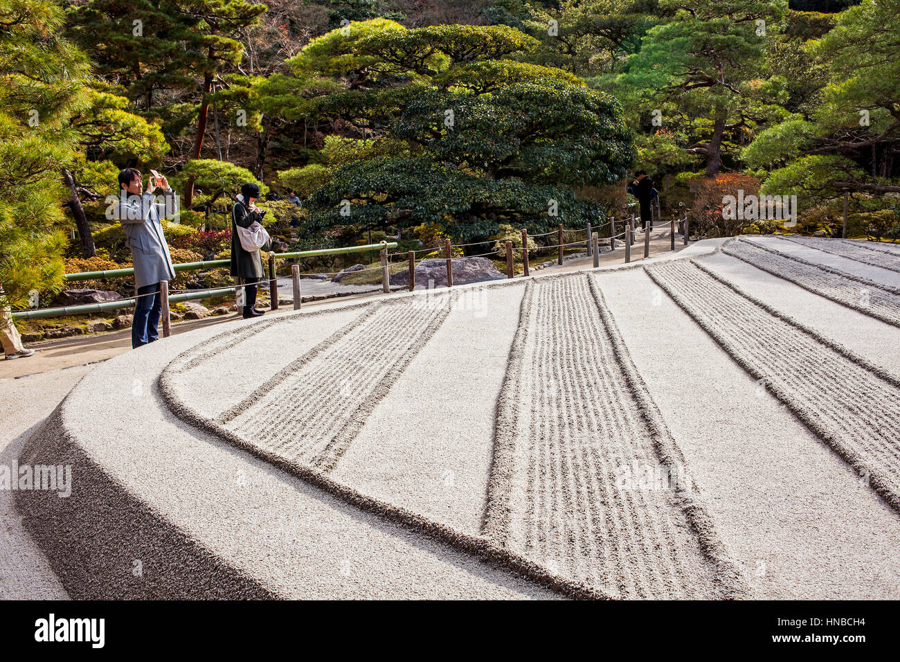 Zen garden symbolizing Mount Fuji and the sea, in Ginkaku ji temple, Kyoto, Kansai, Japan - Stock Image