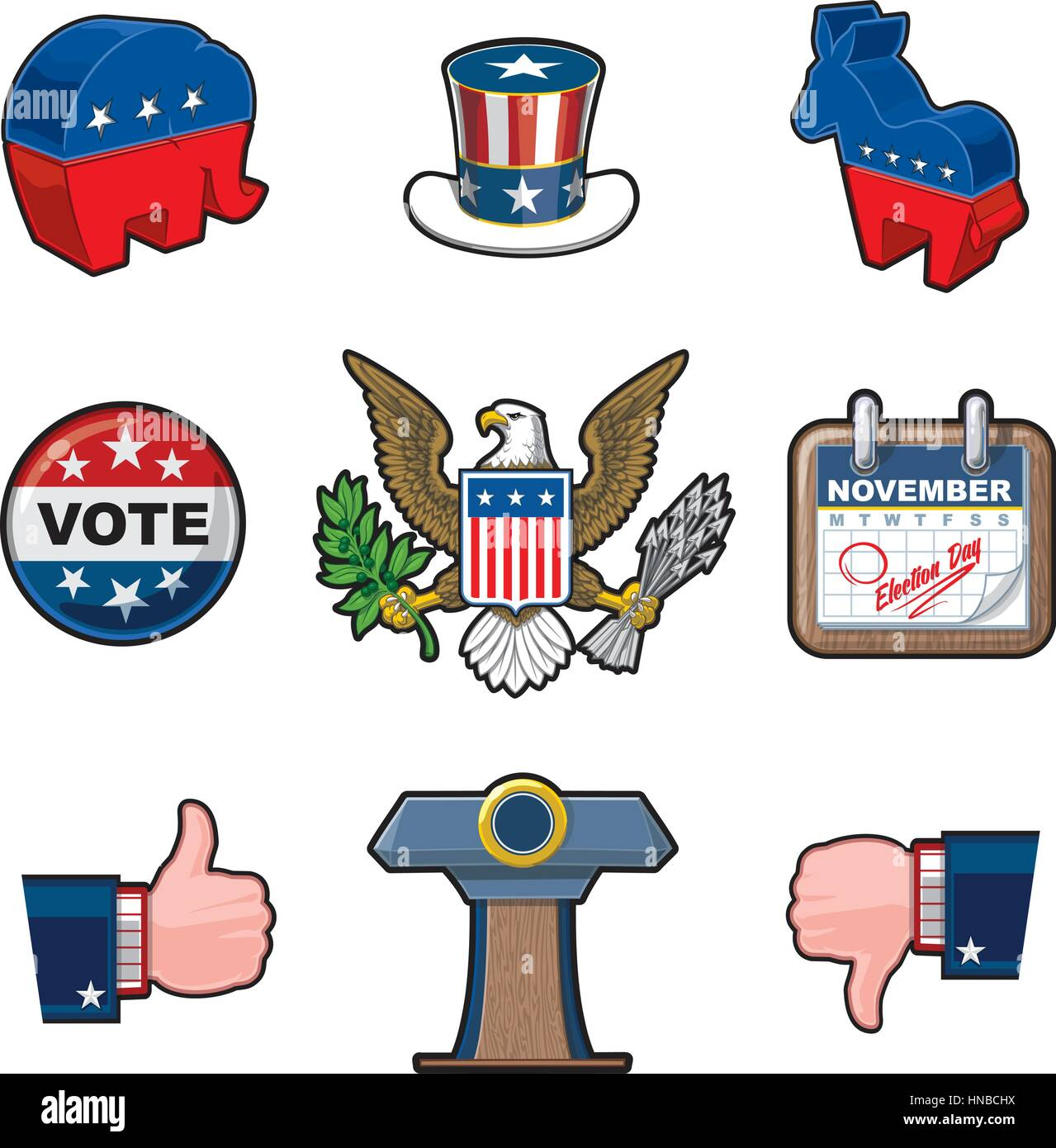 American Elections Vector Icon Set It Includes The Party Symbols