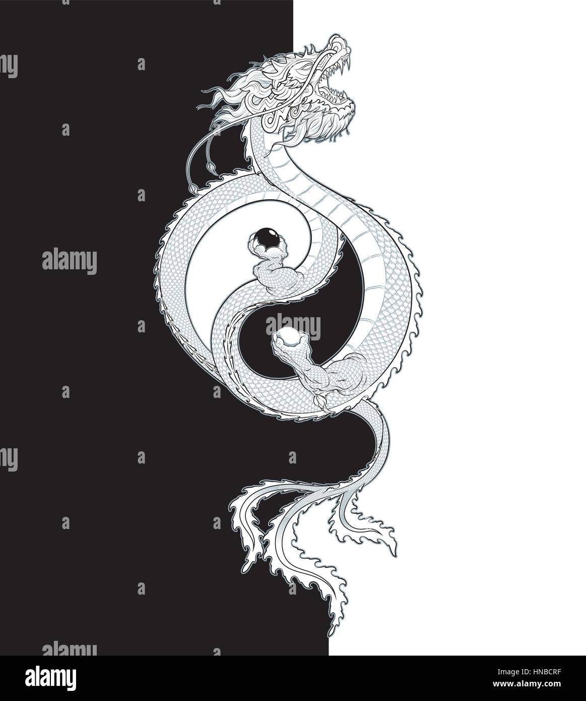 Vector illustration of a flying oriental dragon holding two spheres vector illustration of a flying oriental dragon holding two spheres shaping the yin yang symbol all elements neatly on layers and groups buycottarizona Choice Image