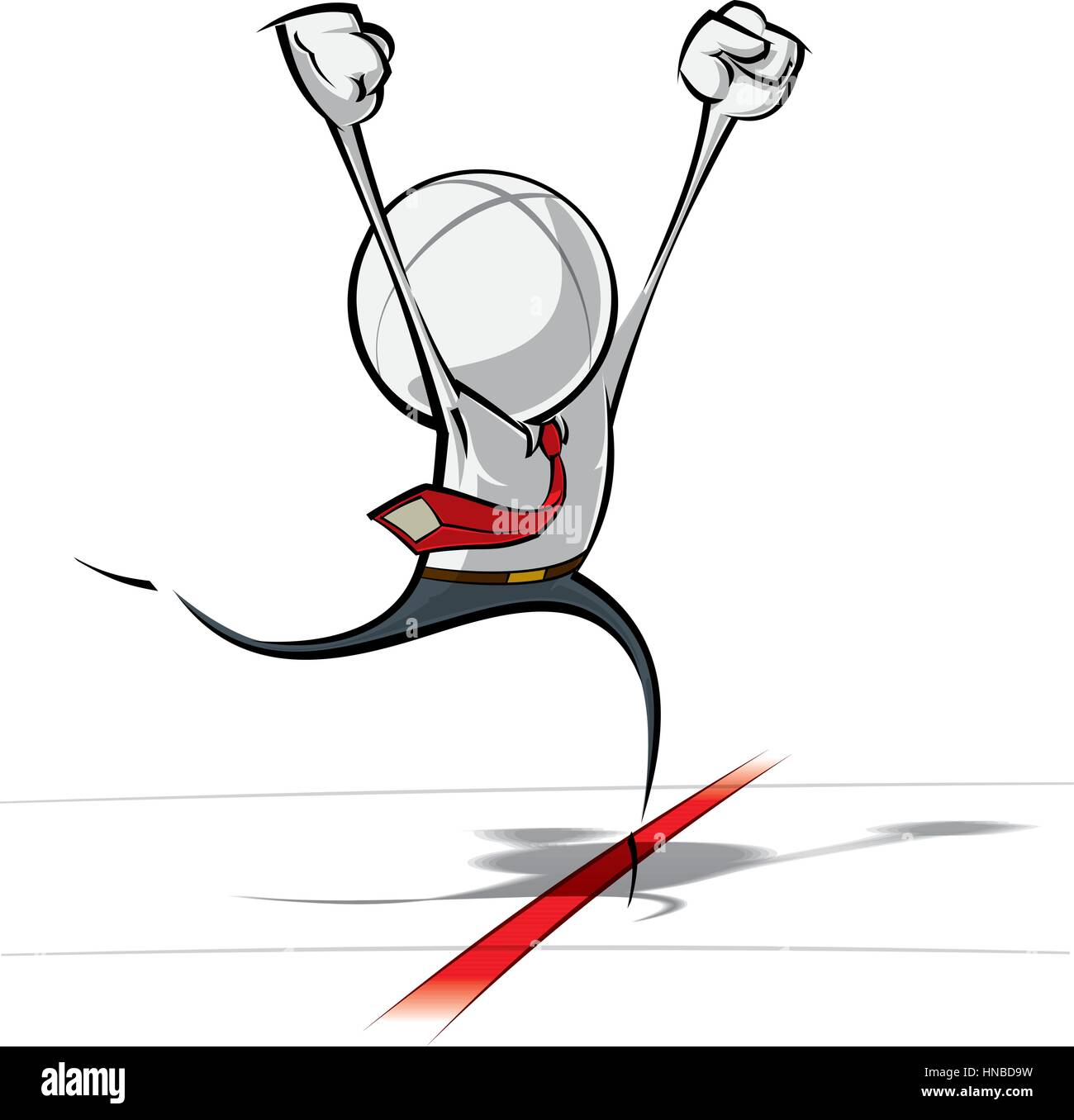 Sparse vector illustration of a of a generic Business cartoon character winning a race - succeeding. - Stock Image