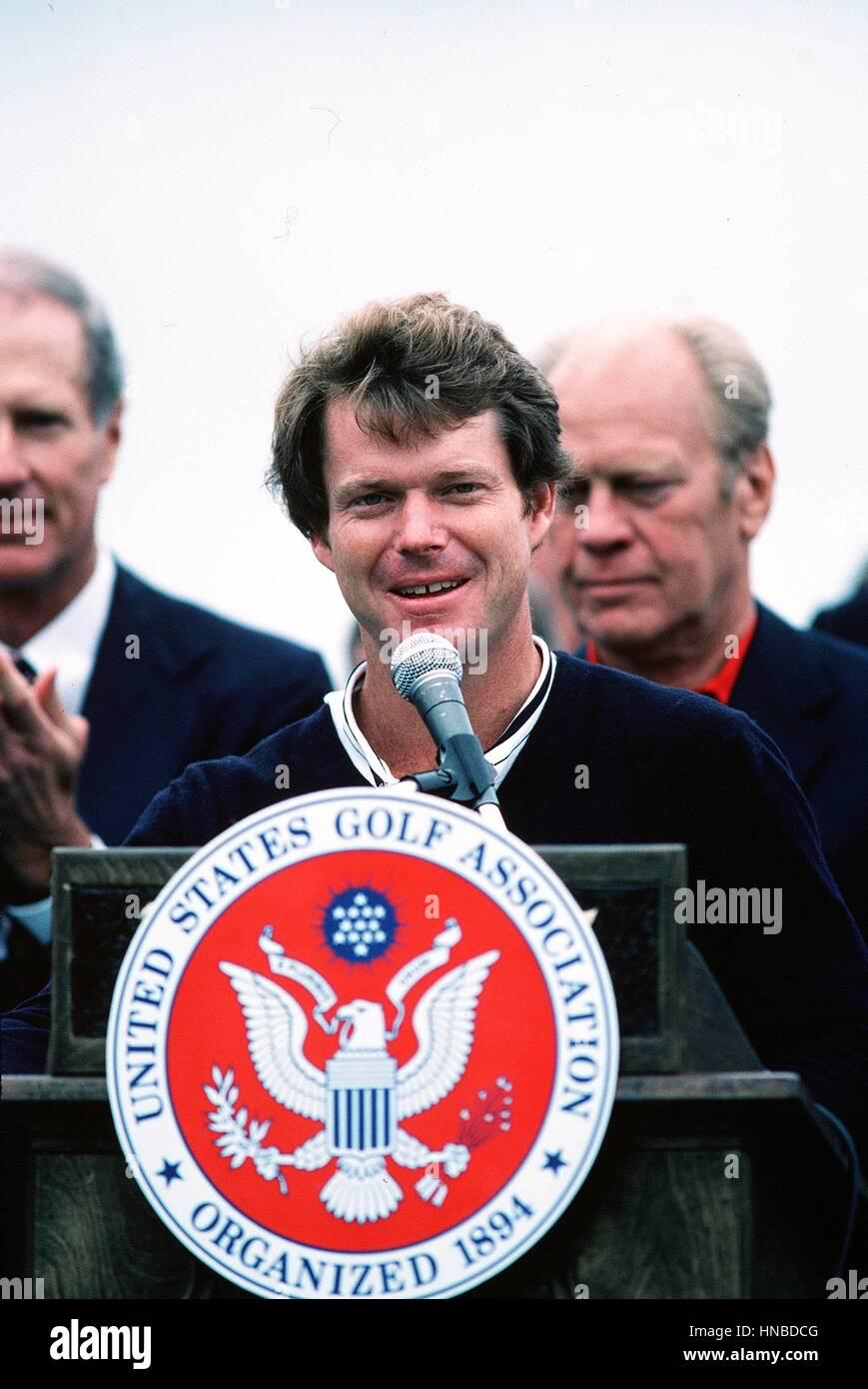 TOM WATSON US OPEN FINAL DAY PEBBLE BEACH MONTEREY CALIFORNIA USA 20 June 1982 - Stock Image