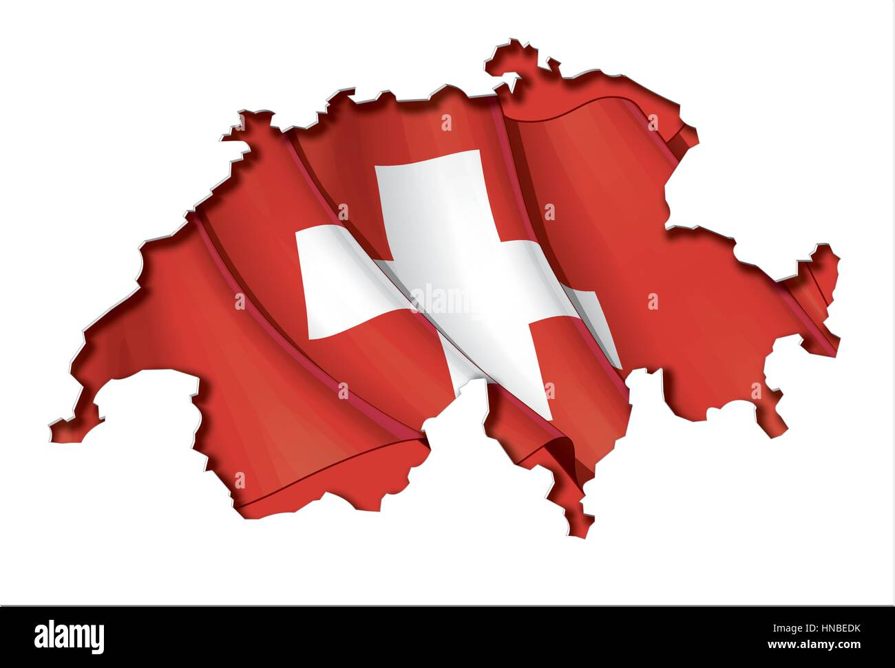 Swiss map cut-out, highly detailed on the edge's shading, with a waving flags underneath. The Settle thickness - Stock Vector
