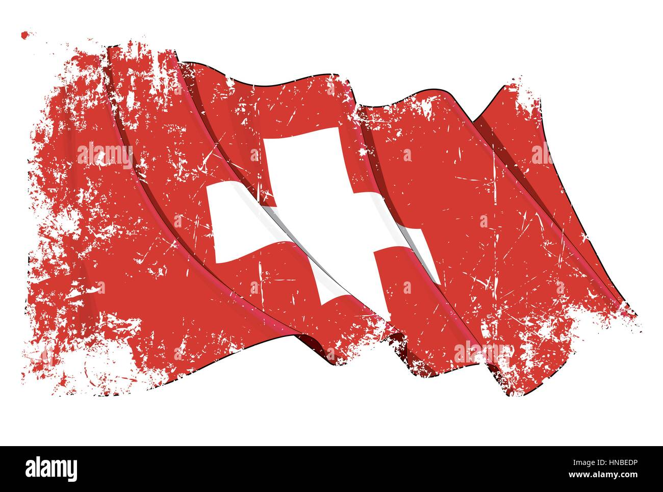 Grunge Vector Illustration of a waving Swiss Flag. All elements neatly organized. Texture, Lines, Shading & - Stock Vector