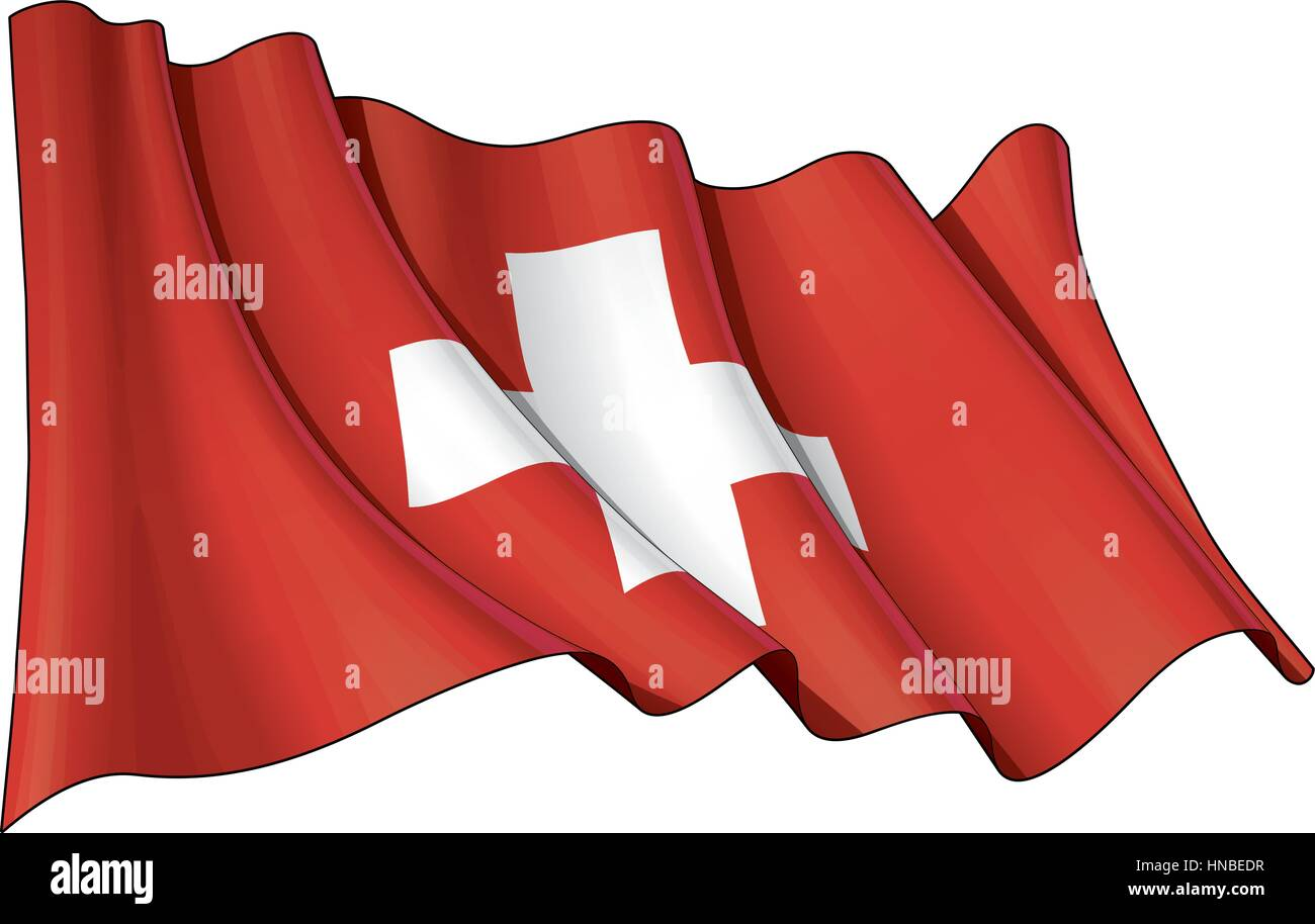 Vector Illustration of a waving Swiss Flag. All elements neatly organized. Lines, Shading & Flag Colors on separate - Stock Vector