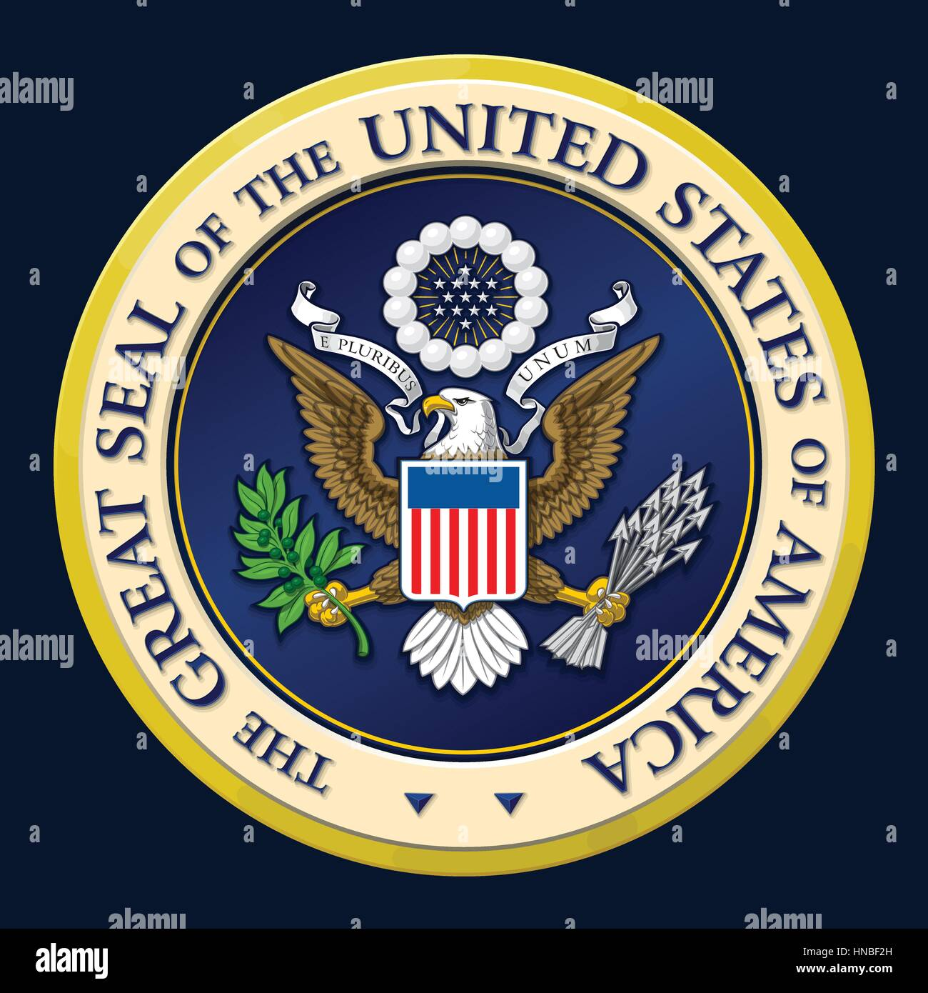 Highly detailed vector design of a monochromatic embossed, gold official Great Seal of the United States. EPS 10 - Stock Image