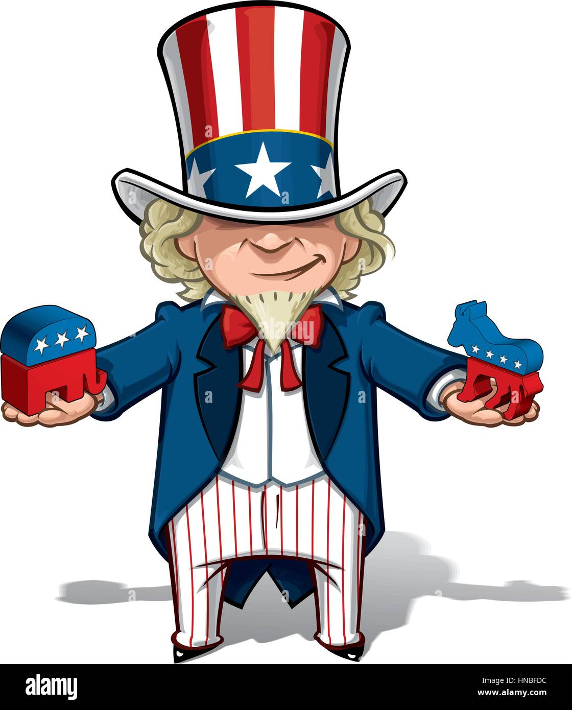 Vector Cartoon Illustration of Uncle Sam holding mockups of the Democratic Party Donkey and The Republican Party - Stock Image