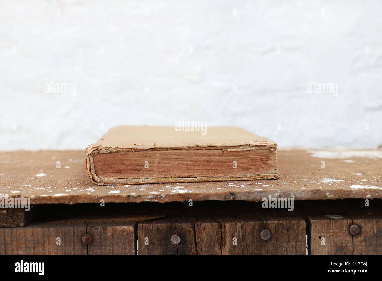 Old Book Closeup Shot - Stock Image