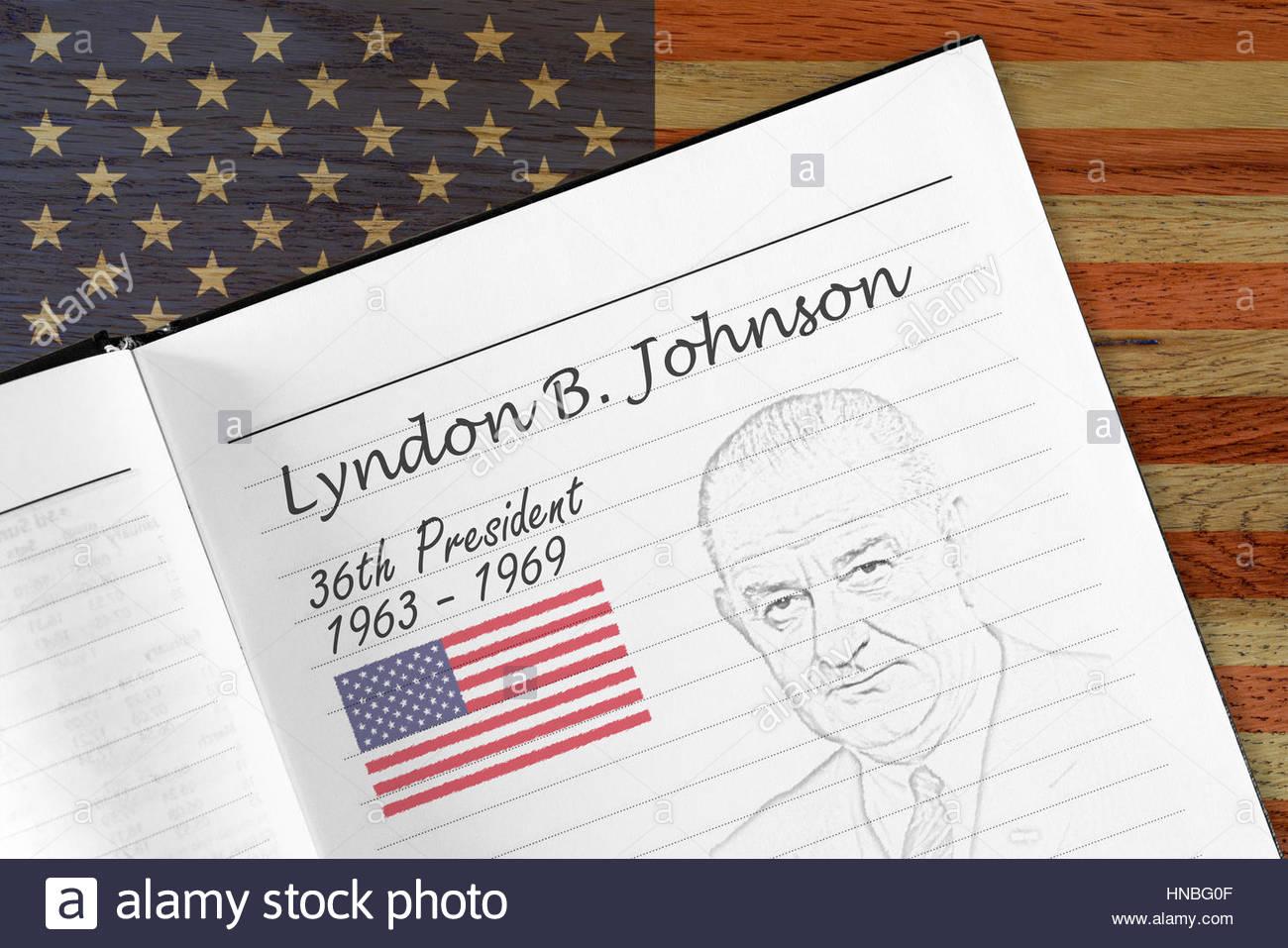 Lyndon B. Johnson, presidency sketch Stock Photo