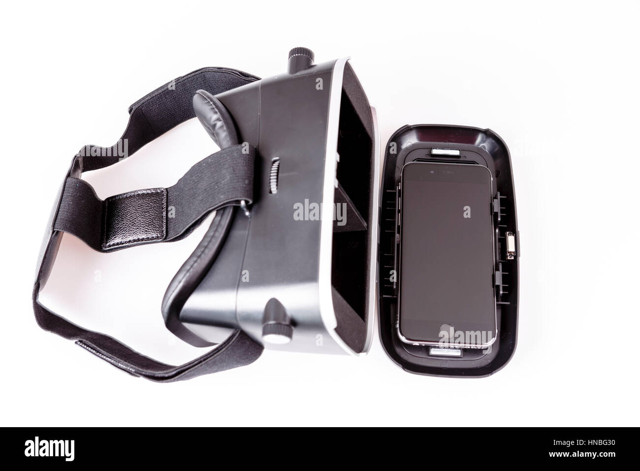 virtual reality simulator glasses for smartphone on white, vr experience - Stock Image