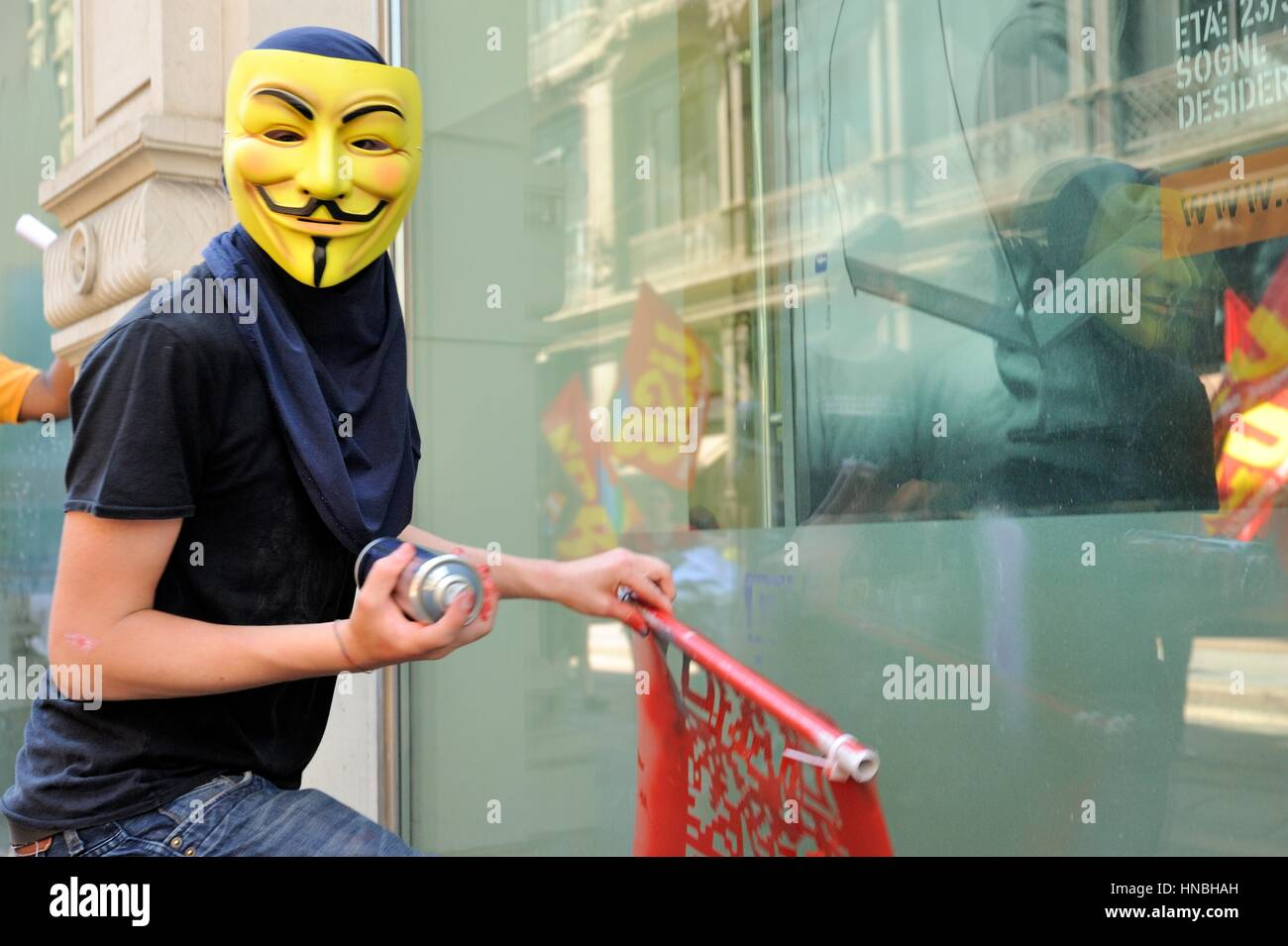 anonymous protester at against austerity demostration - Stock Image
