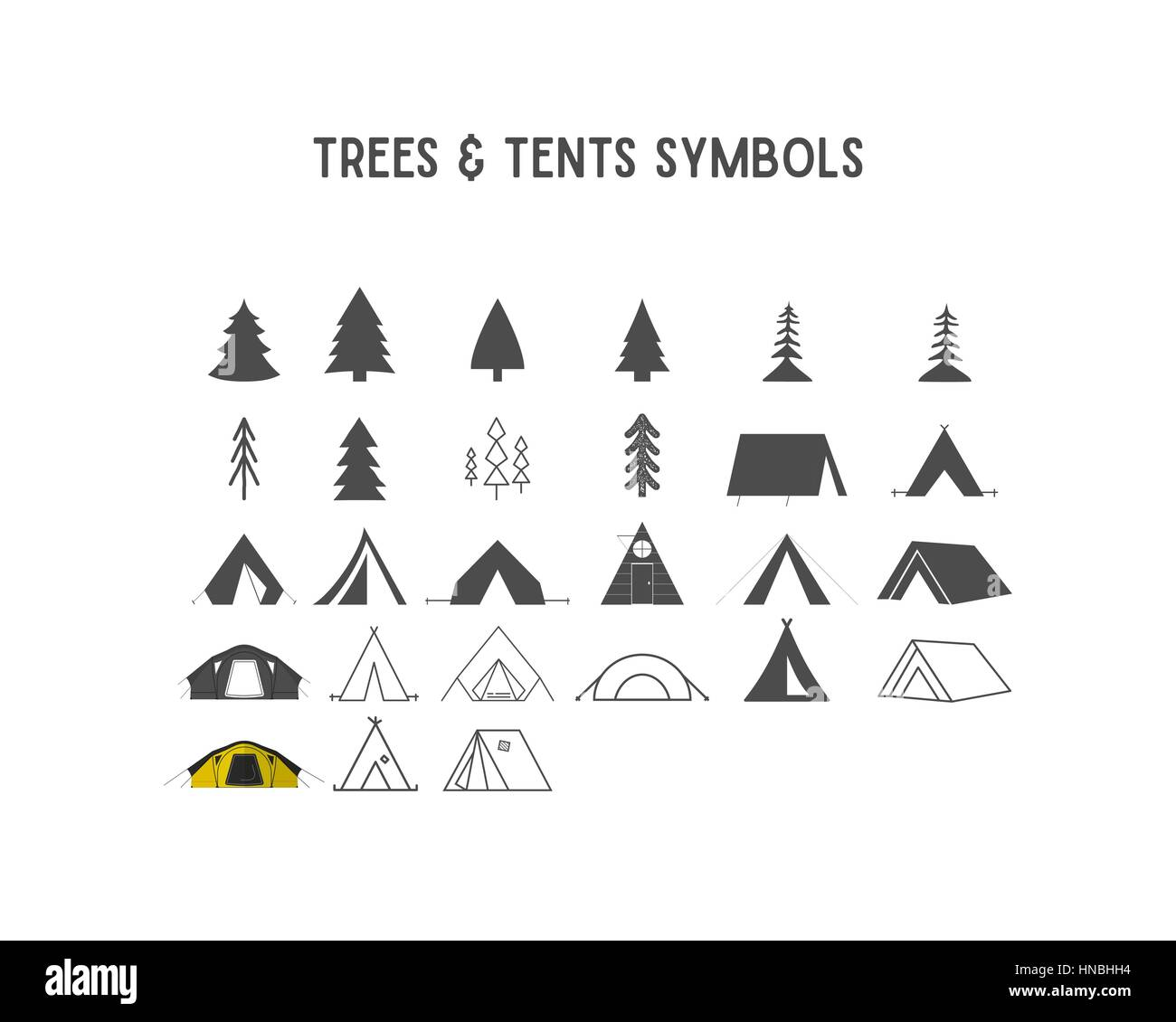Trees and tent vector shapes and elements for creation your own outdoor labels, hipster retro patches, adventure - Stock Vector