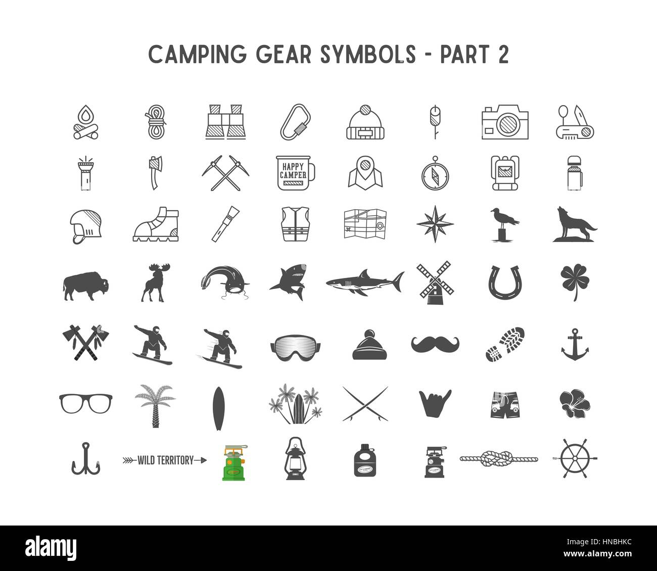 Set of Vector silhouette icons and shapes with different outdoor gear, camping symbols for creating adventure logotypes, - Stock Vector