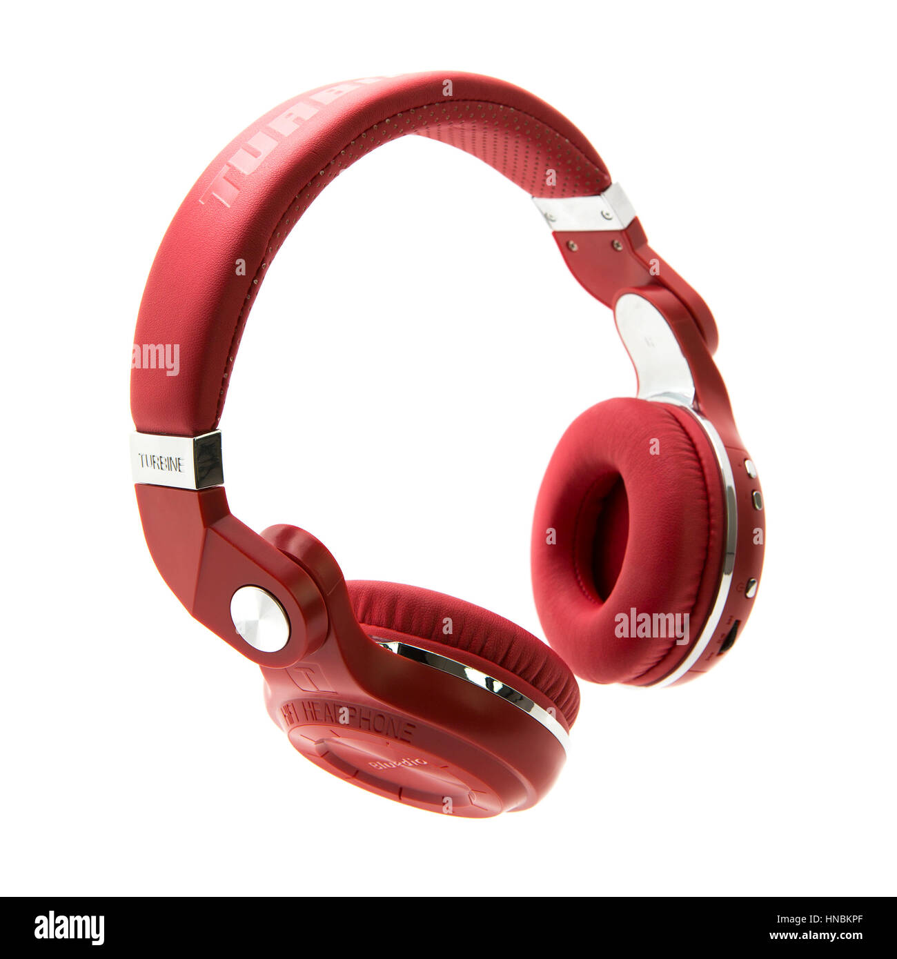 Chic & Stylish Bluedio Turbine Overear Bluetooth Red Headphones, front view, isolated on white background - Stock Image