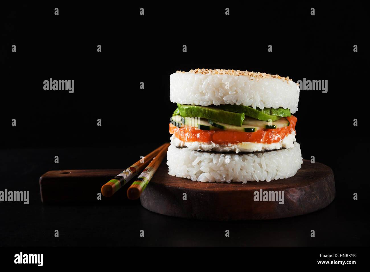 Sushi Menu With Burger Made From Rice And Smoked Salmon Avocado