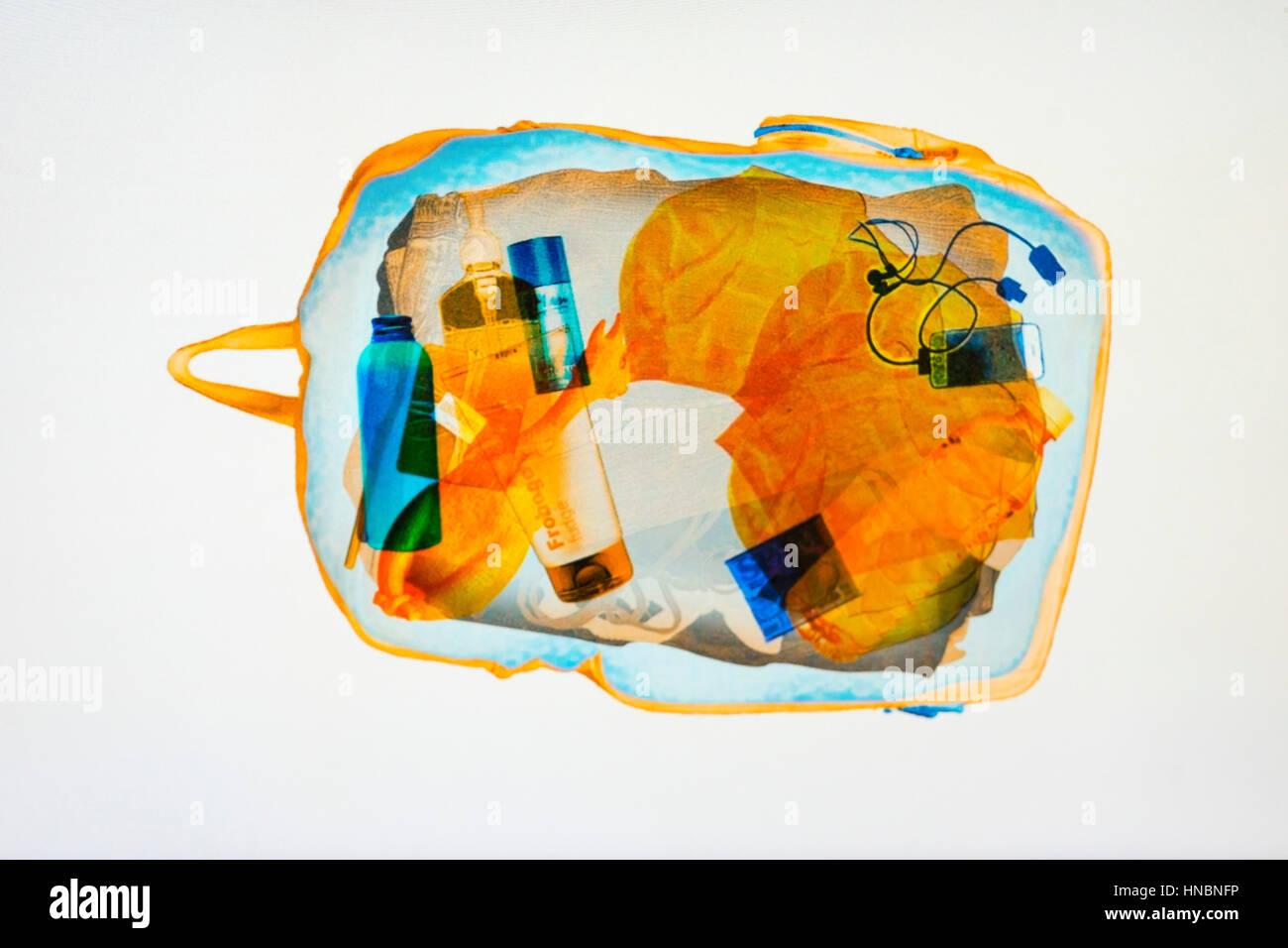 Bag under x ray machine - Stock Image