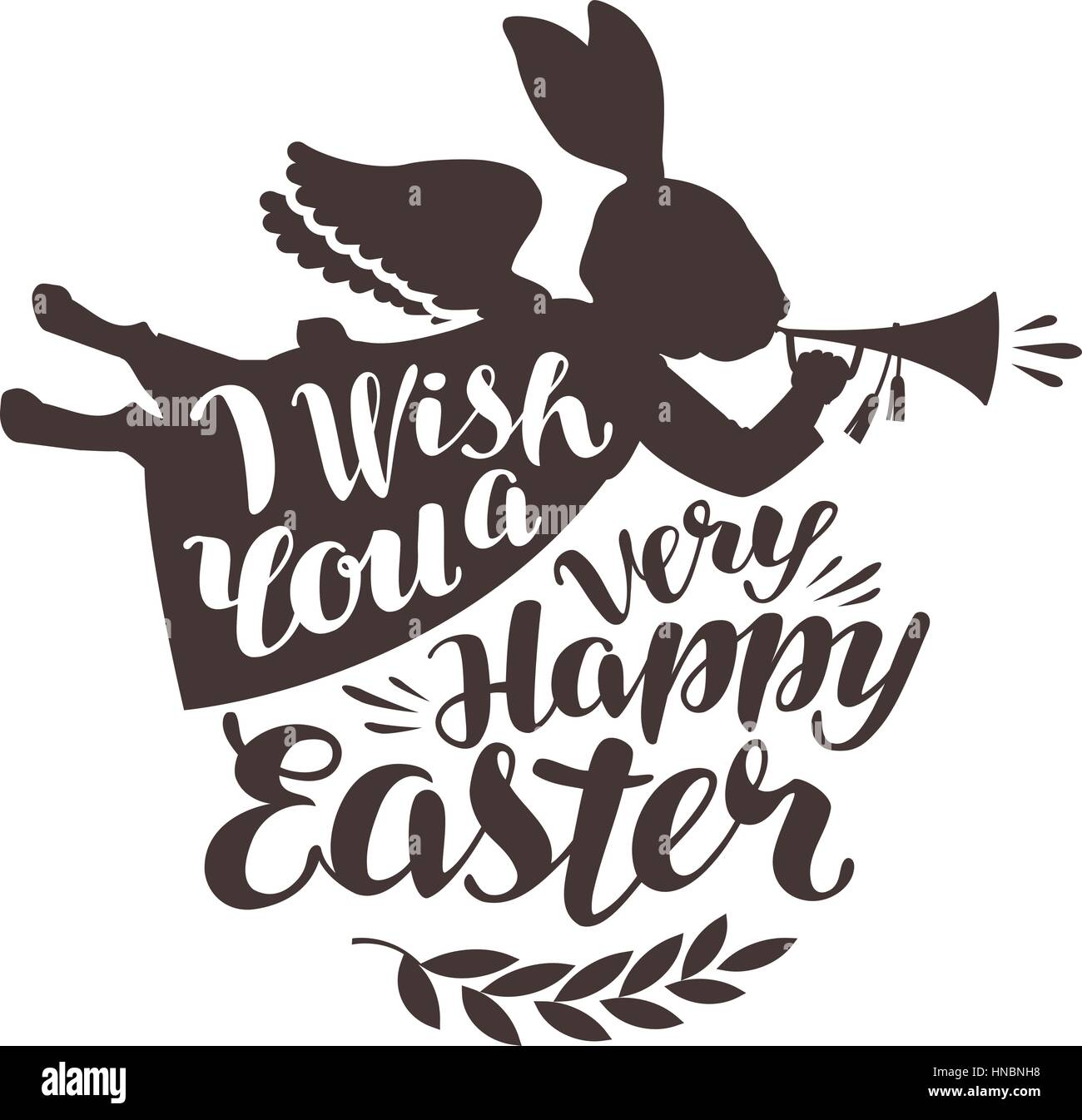 Happy Easter, greeting card. Rabbit, bunny blowing trumpet. Lettering, calligraphy vector illustration - Stock Vector