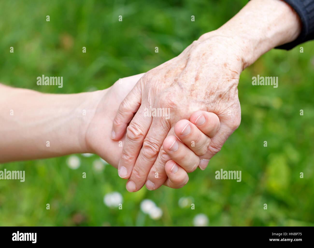 Doctor's hand holding a wrinkled elderly hand - Stock Image
