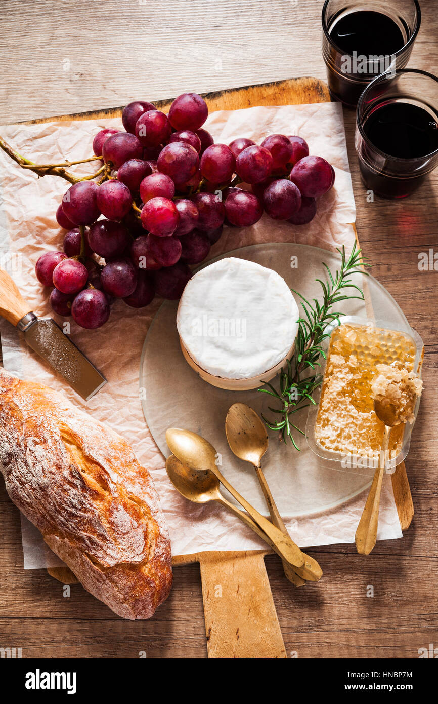 Cheese Board And Wine Cheese Grapes Wine Honey And Bread On A