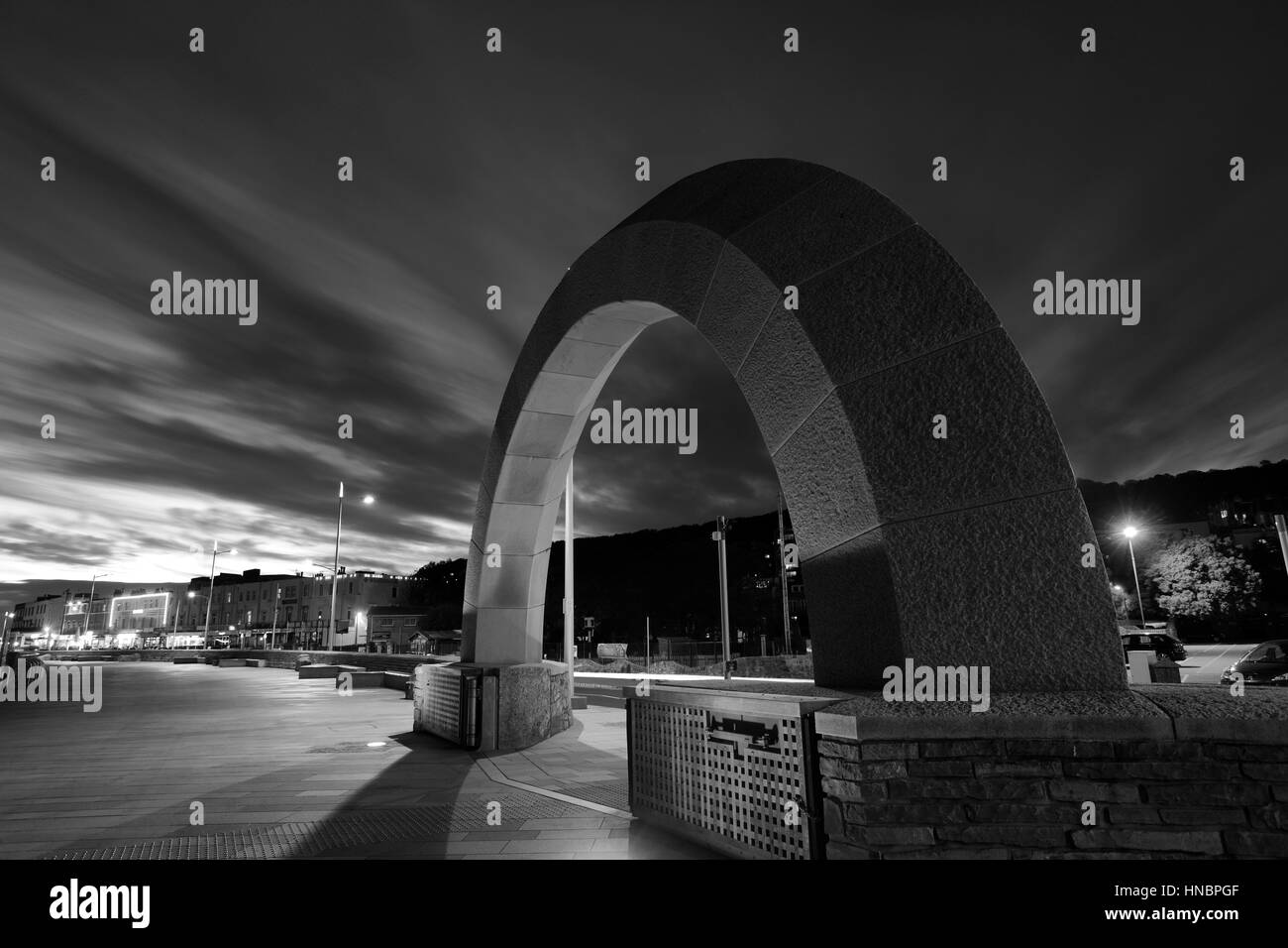 Summer, June, July, Stone Arch Sculpture at night, Weston Super Mare, Bristol Channel, Somerset County, England, - Stock Image