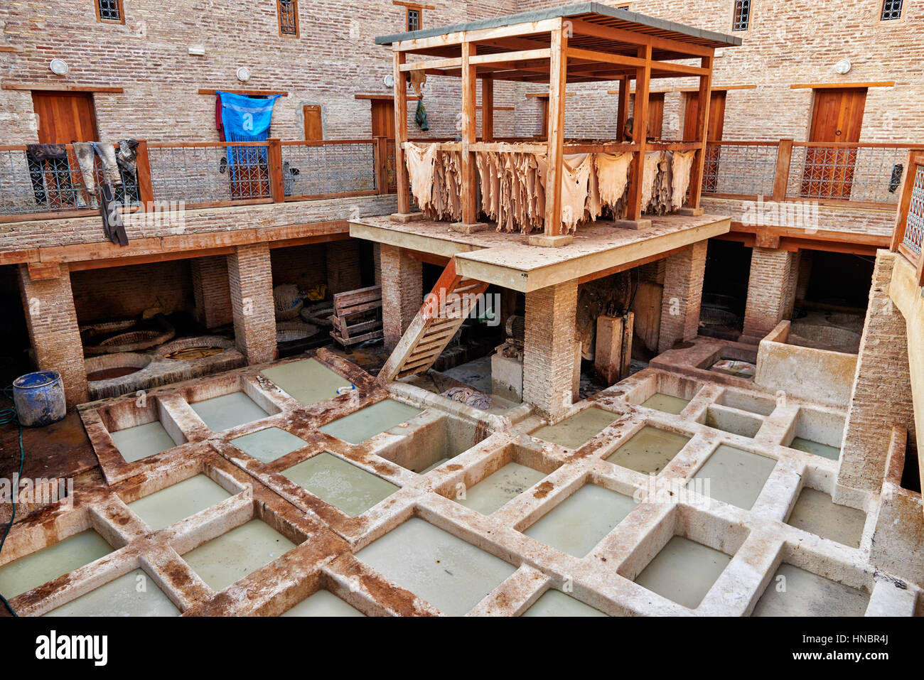 refurbished traditional leather tannery in Old Fez, Morocco, Africa - Stock Image