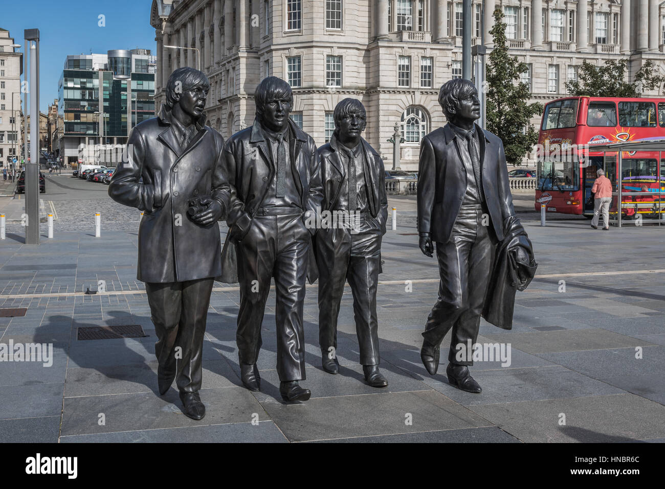 The Beatles statue, Pier Head, Liverpool, UK - Stock Image