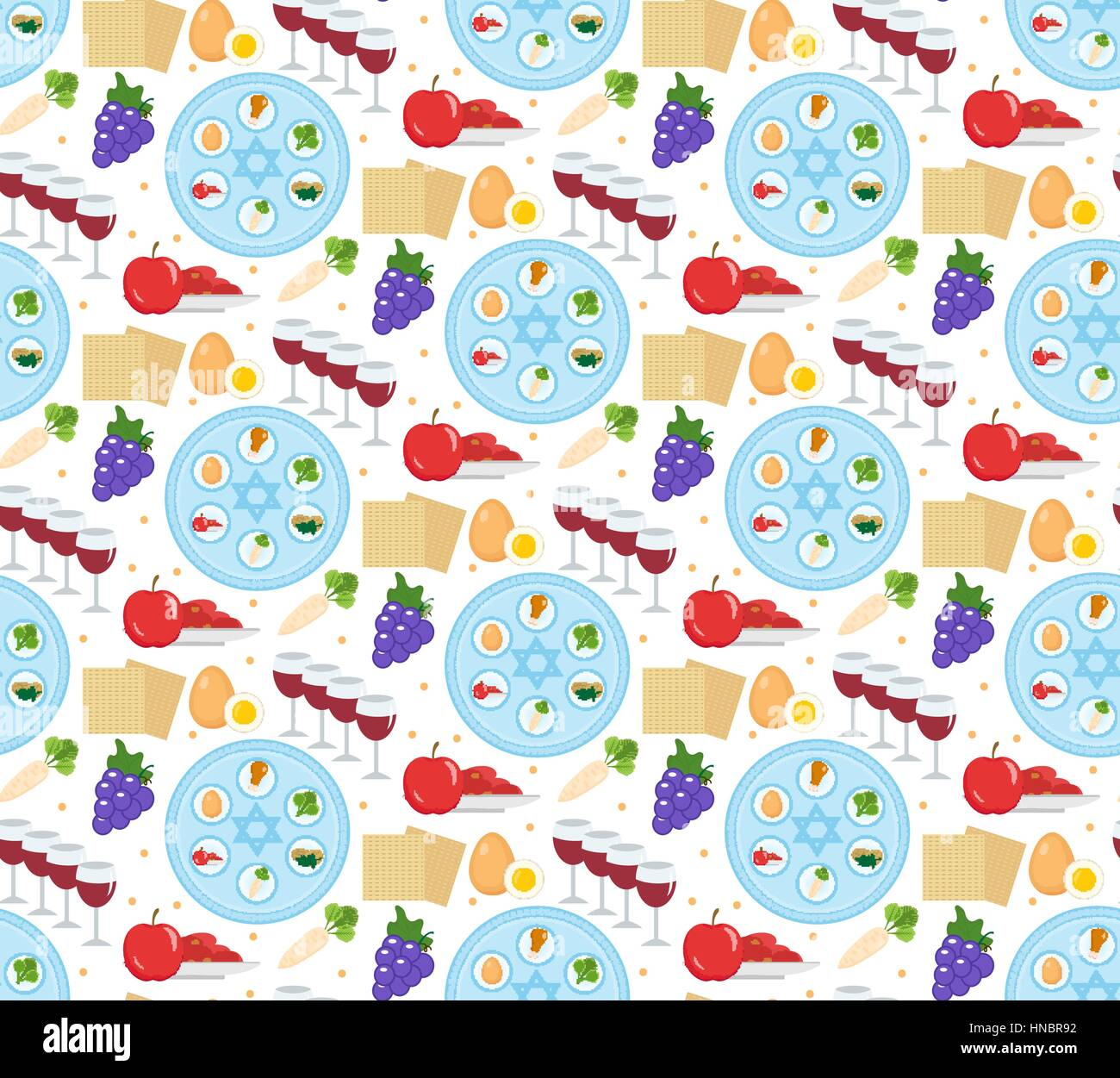 Passover seamless pattern. Pesach endless background, texture. Jewish holiday backdrop. Vector illustration. Stock Vector