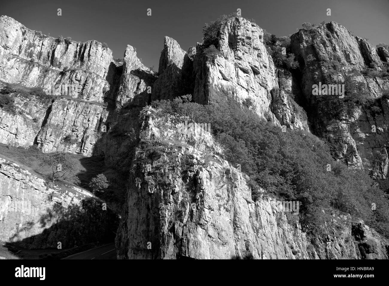 Summer view over the Limestone cliffs of Cheddar Gorge, Mendip Hills, Somerset County, England, UK - Stock Image