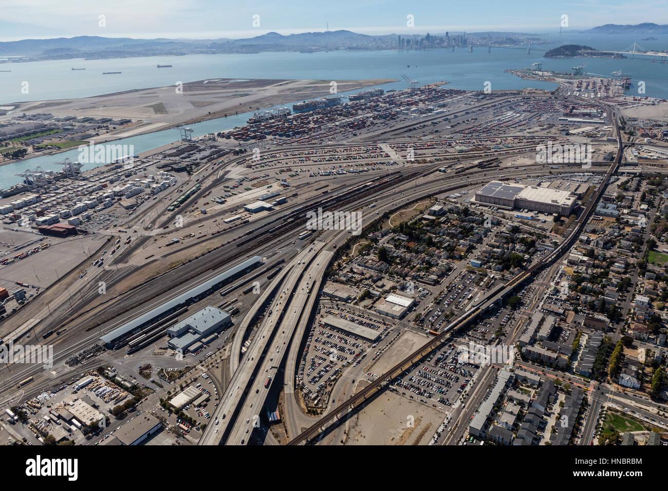 Oakland, California, USA - September 19, 2016:  Aerial view of San Francisco Bay, Alameda Island and Oakland Harbor. - Stock Image
