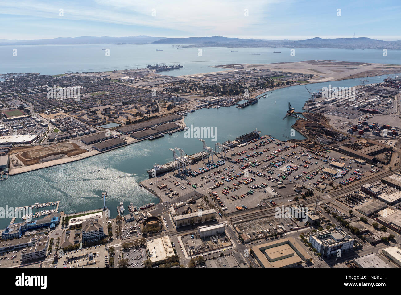 Oakland, California, USA - September 19, 2016:  Aerial view of the Port of Oakland, Alameda Island and San Francisco - Stock Image