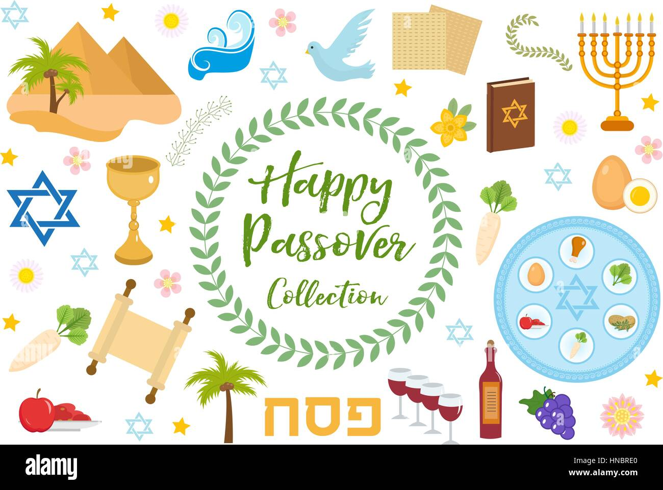 Passover icons set. flat, cartoon style. Jewish holiday of exodus Egypt. Collection with Seder plate, meal, matzah, - Stock Vector