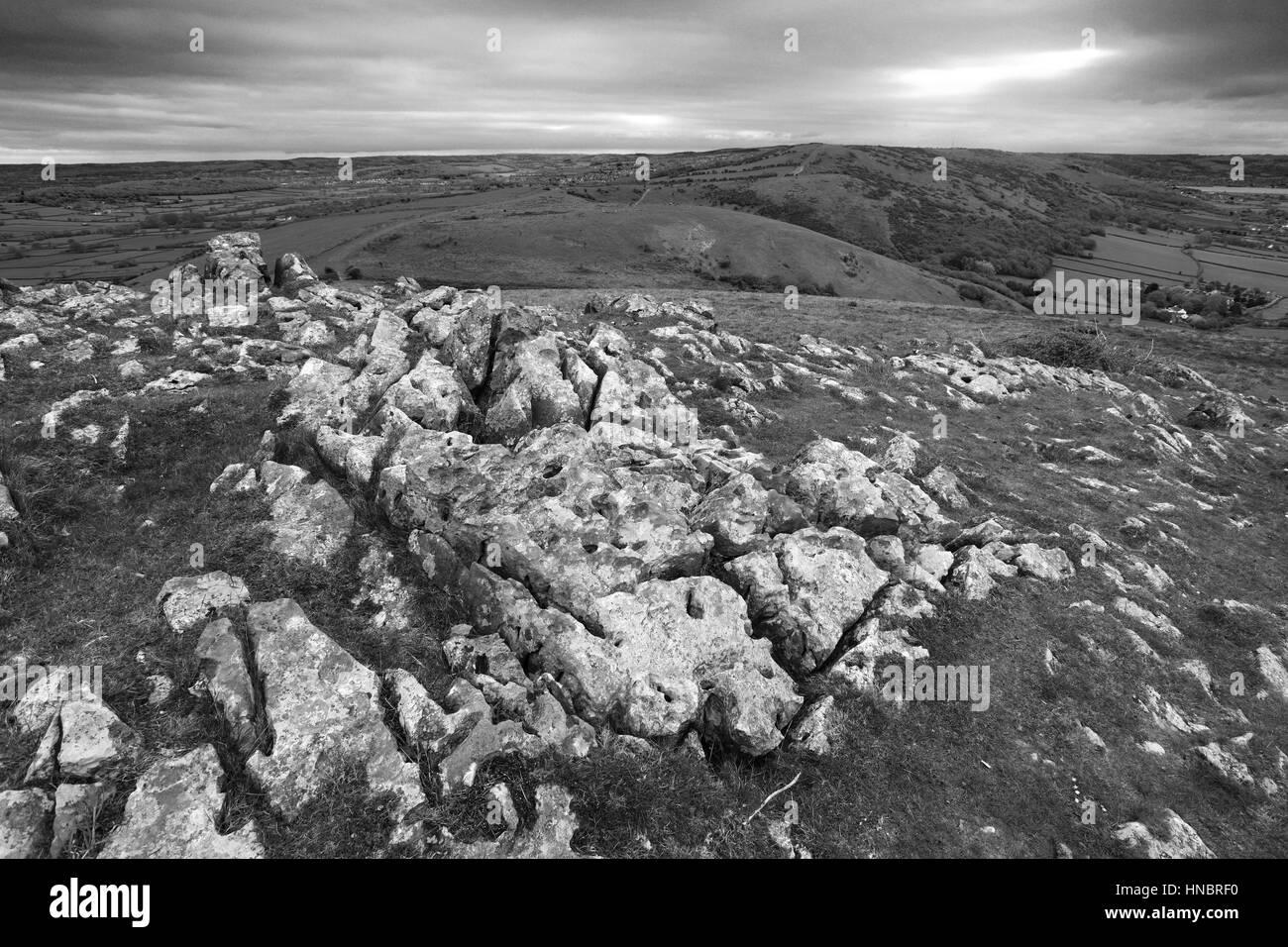 Summer view over Crook Peak, Somerset Levels, Mendip Hills, Somerset County, England, U - Stock Image