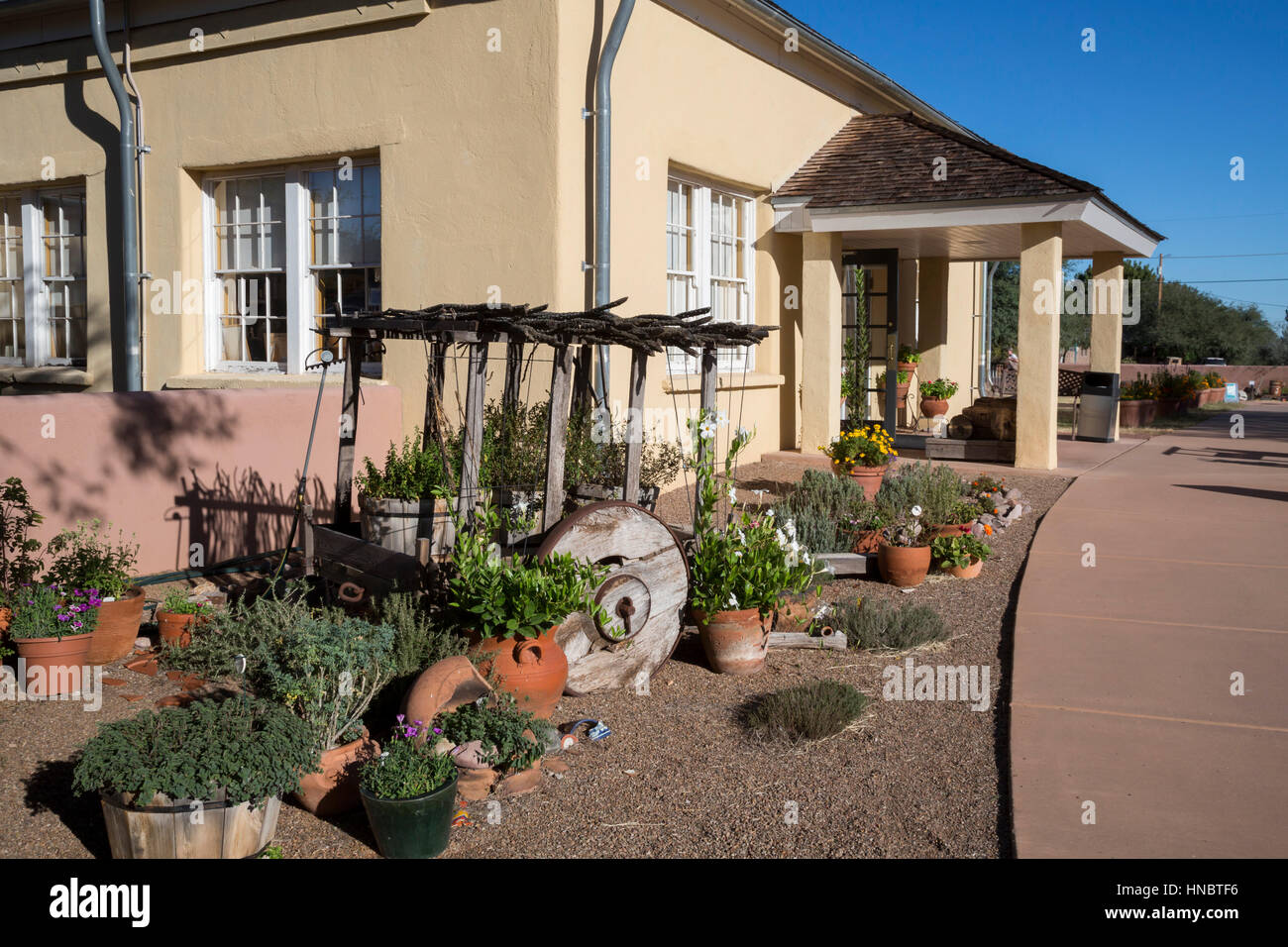 Tubac, Arizona - Tubac Presidio State Historic Park preserves artifacts from 2000 years of human settlement in the - Stock Image