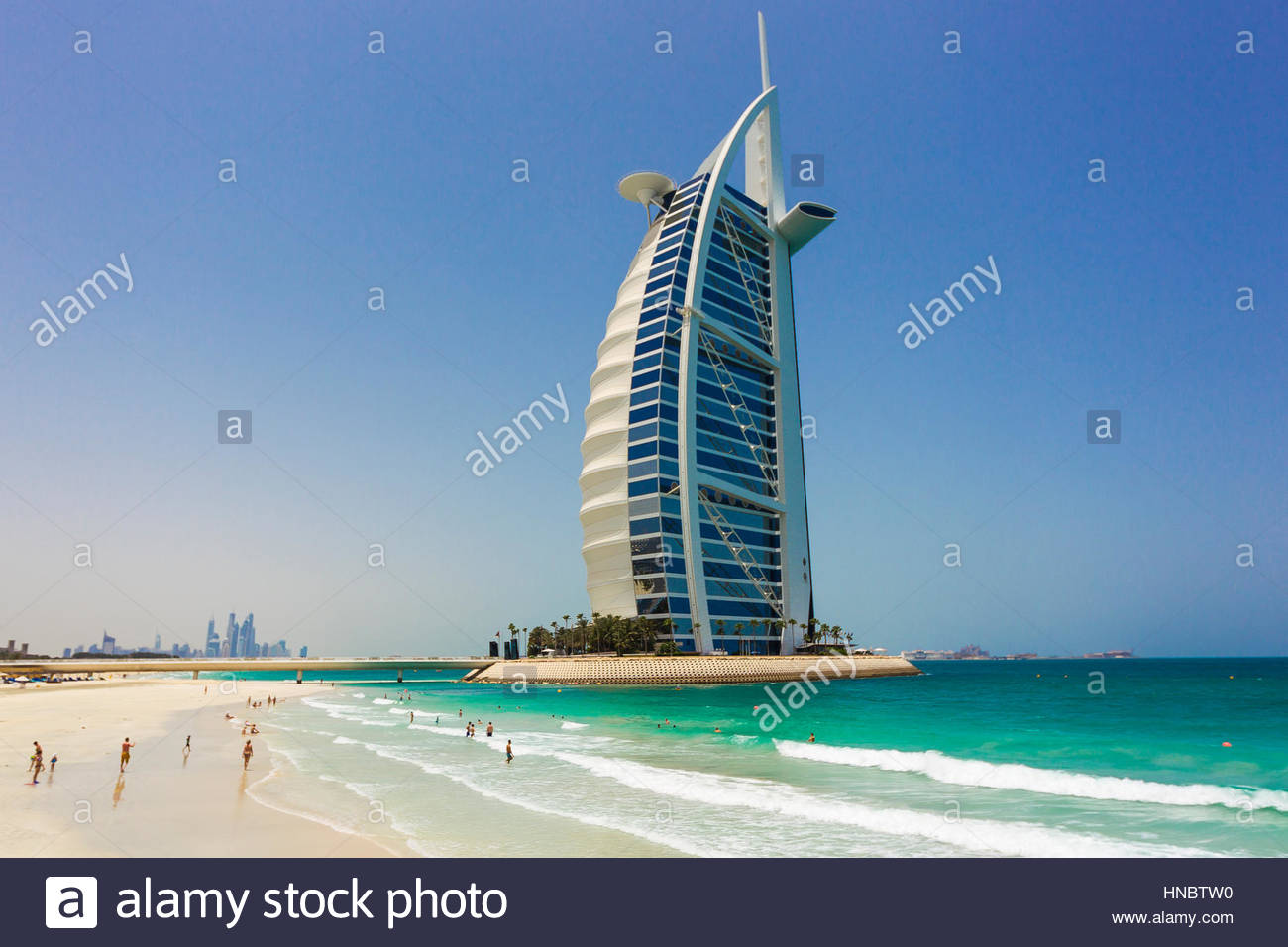 The Burj Al Arab Hotel, and its pristine Persian Gulf beaches. - Stock Image