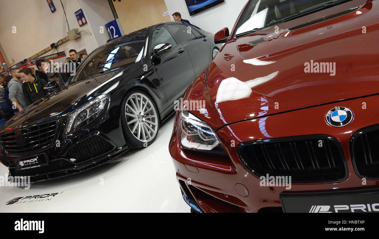 Luxuary Bmw And Mercedes Cars At Indoor Motorshow And Tuning Stock