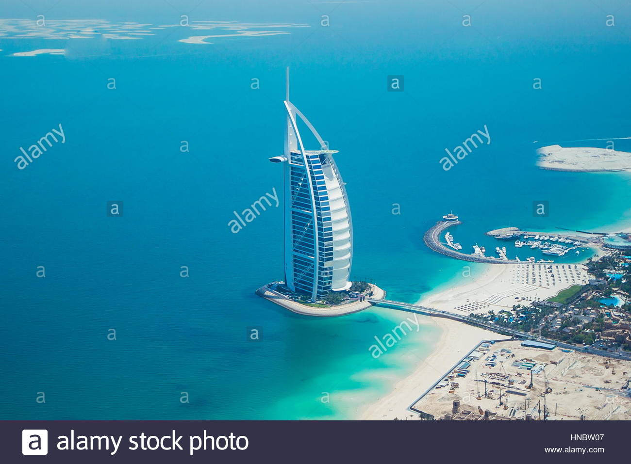 An aerial view of the Burj Al Arab hotel in the Persian Gulf. - Stock Image