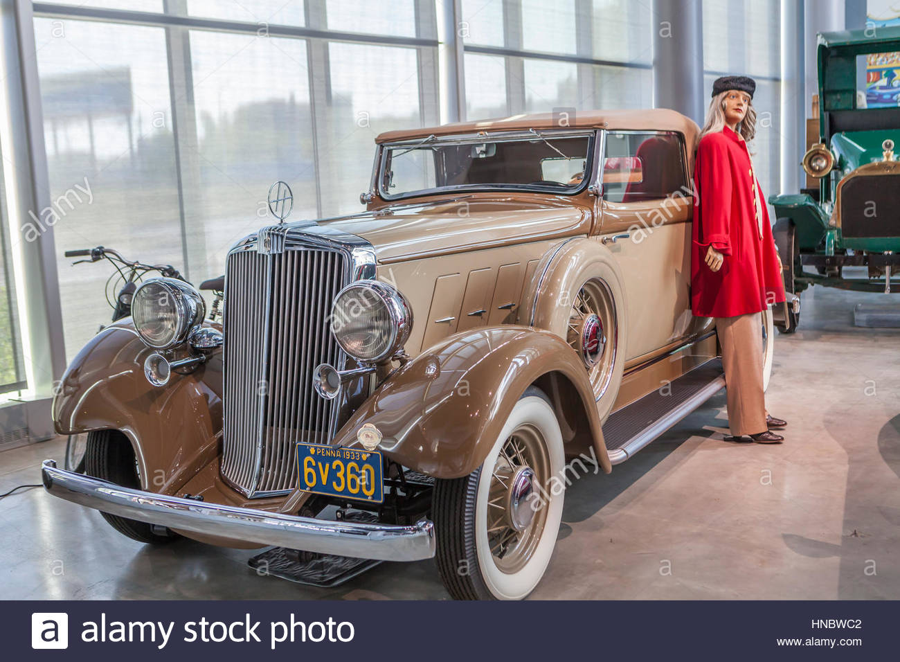 A Hudson Roadster from the 1930's on exhibit at America On Wheels is an over-the-road transportation museum - Stock Image