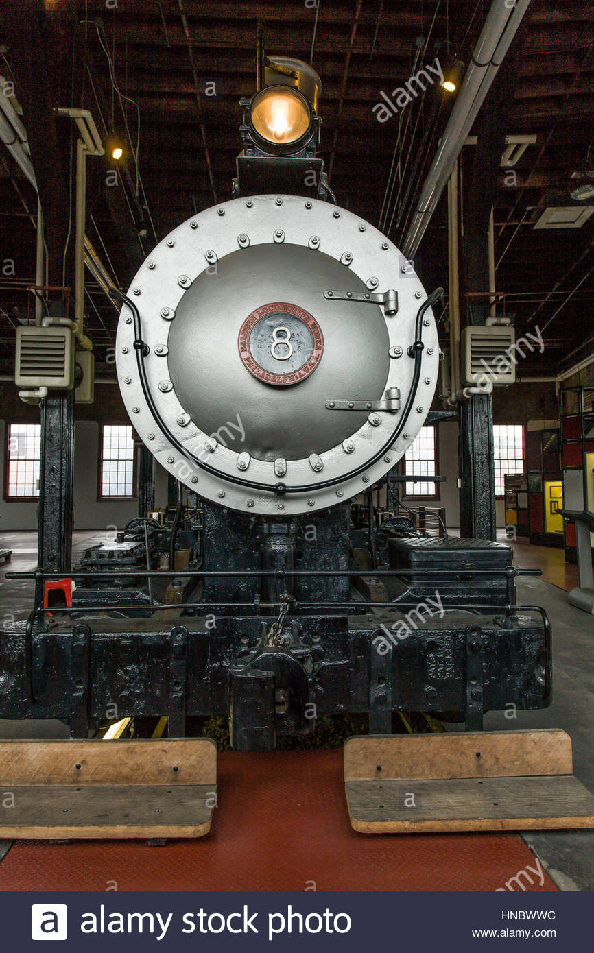 Steam Engine # 8 on exhibit at Steamtown National Historic Site, a railroad museum located in downtown Scranton, - Stock Image