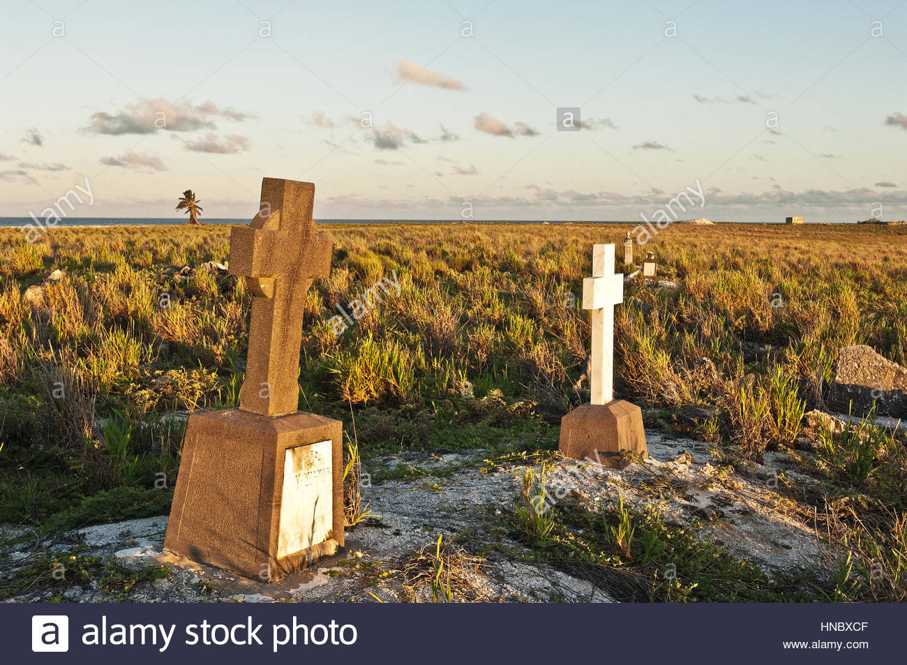 A Christian graveyard on Malden Island in the Southern Line Islands. - Stock Image