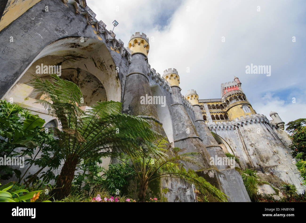 Facade of Pena national palace in Sintra, Portugal. - Stock Image