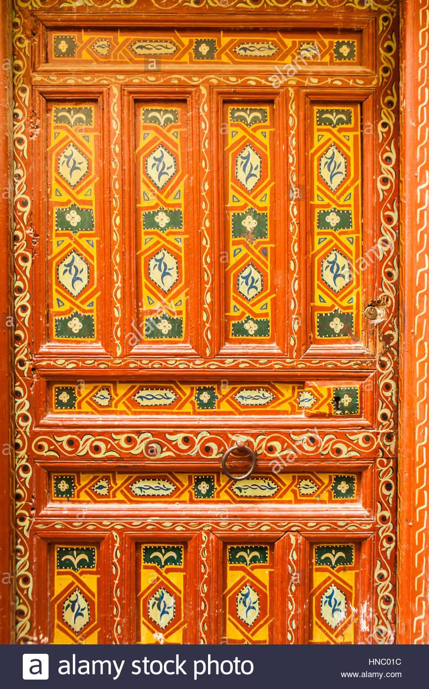 Ornate hand painted Medina door. - Stock Image