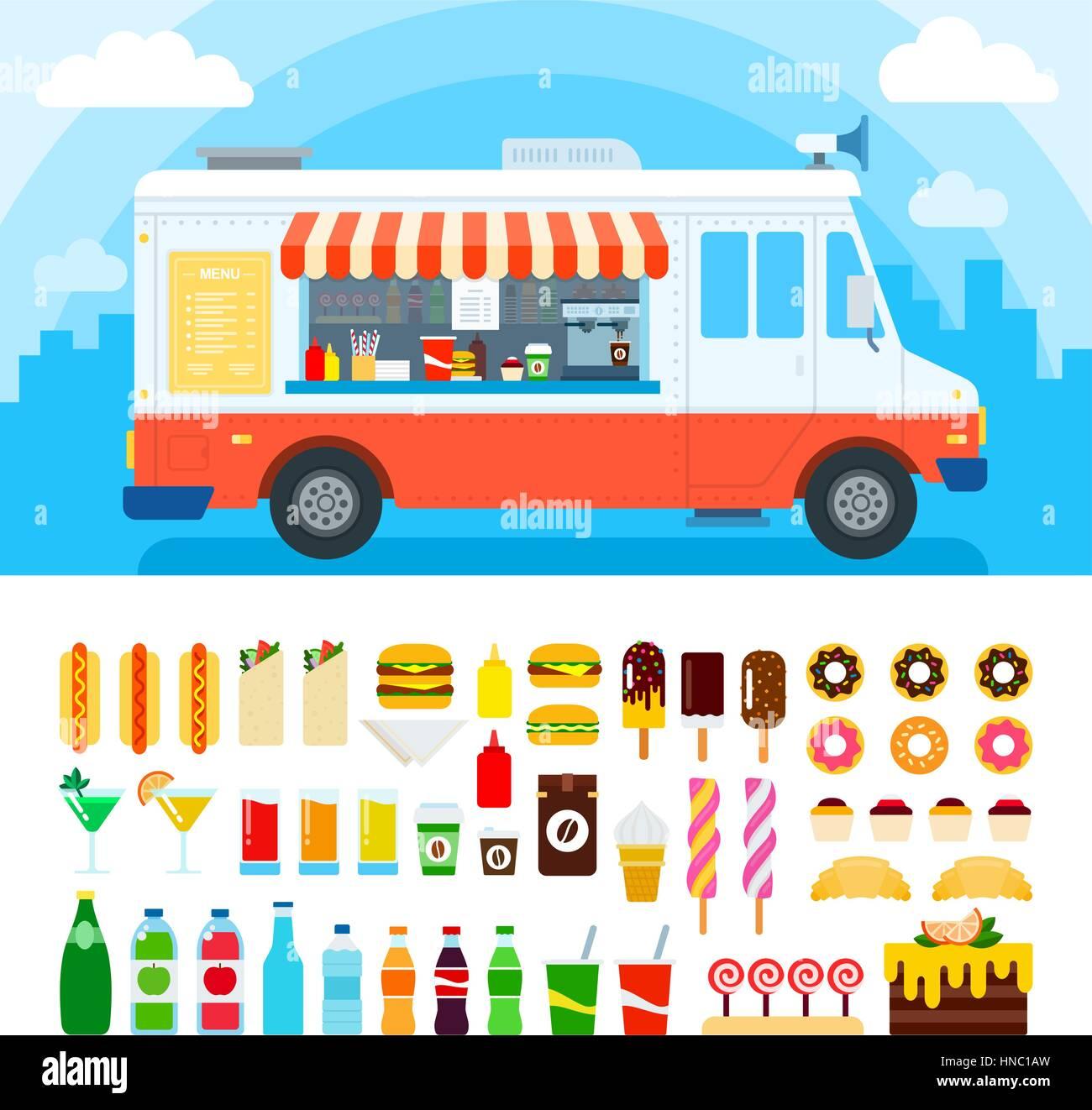 Food Truck Vector Flat Illustrations Retro Foods With Fast Against The Sky