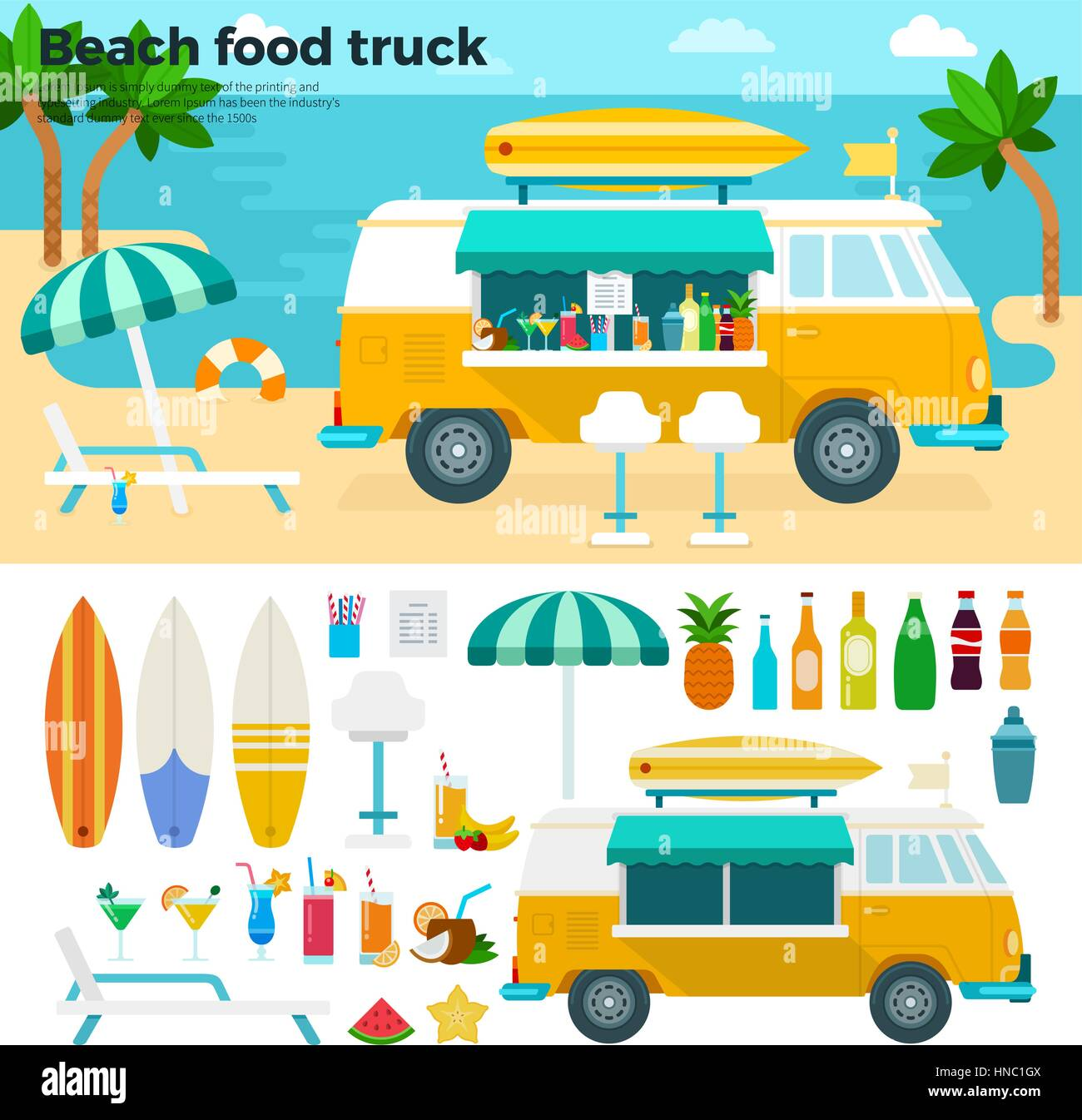 Beach food truck vector flat illustrations. Van with cold beverages and fruits on the summer beach. Hot summer concept. - Stock Vector