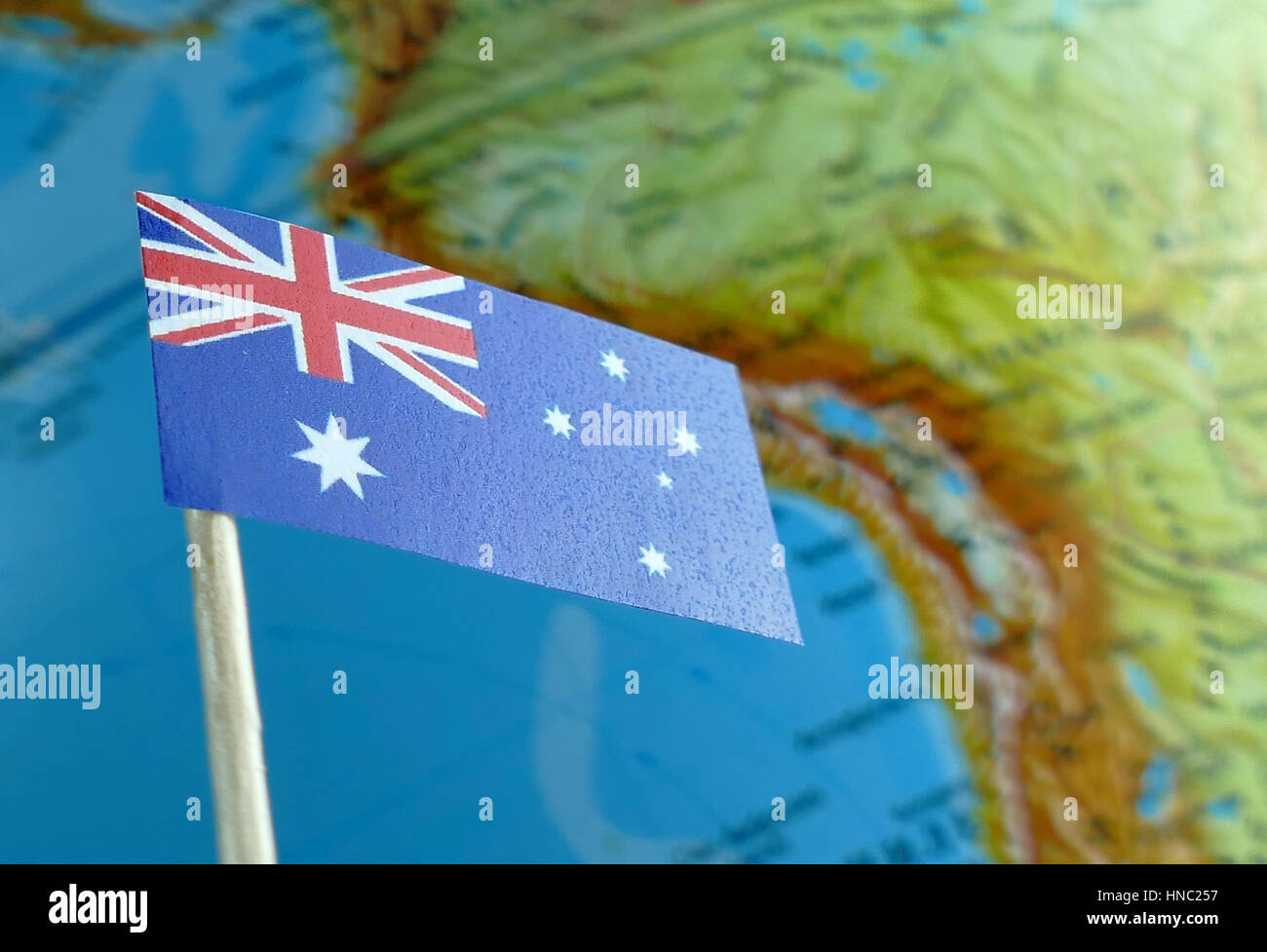 Australia Underwater Map.Australian Flag With A Globe Map As A Background Macro Stock Photo