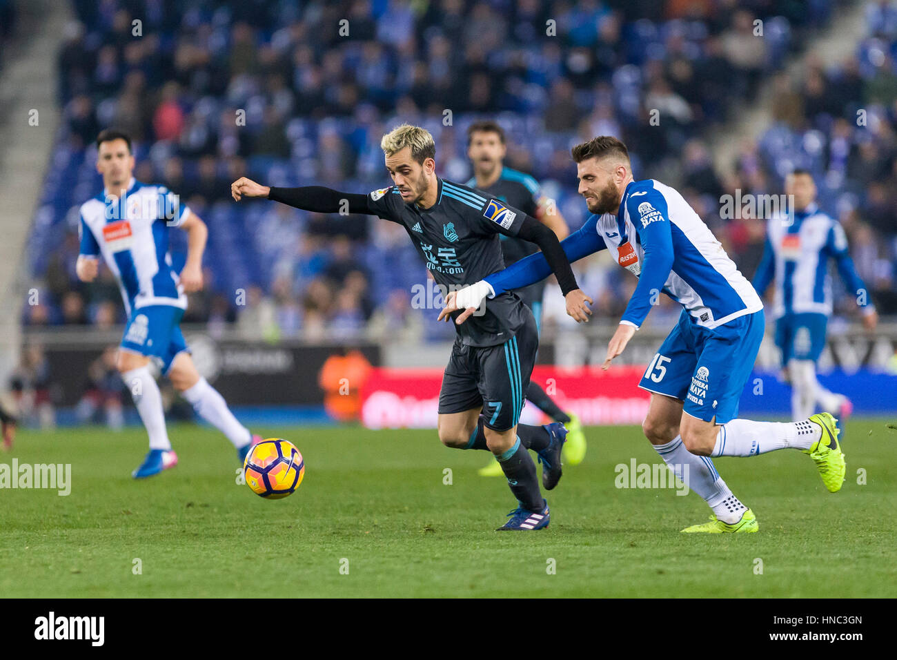 February 10, 2017: Juanmi during the match between RCD Espanyol vs Real Sociedad, for the round 22 of the Liga Santander, - Stock Image