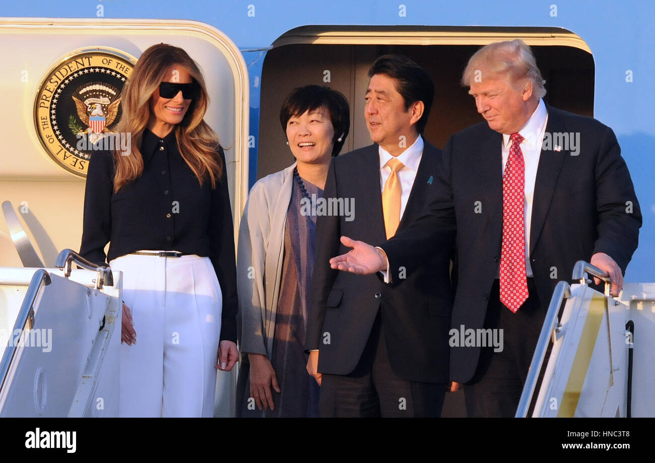 West Palm Beach, Florida, USA. 10th Feb, 2017. U.S. President Donald Trump (R) gestures after arriving on Air Force - Stock Image