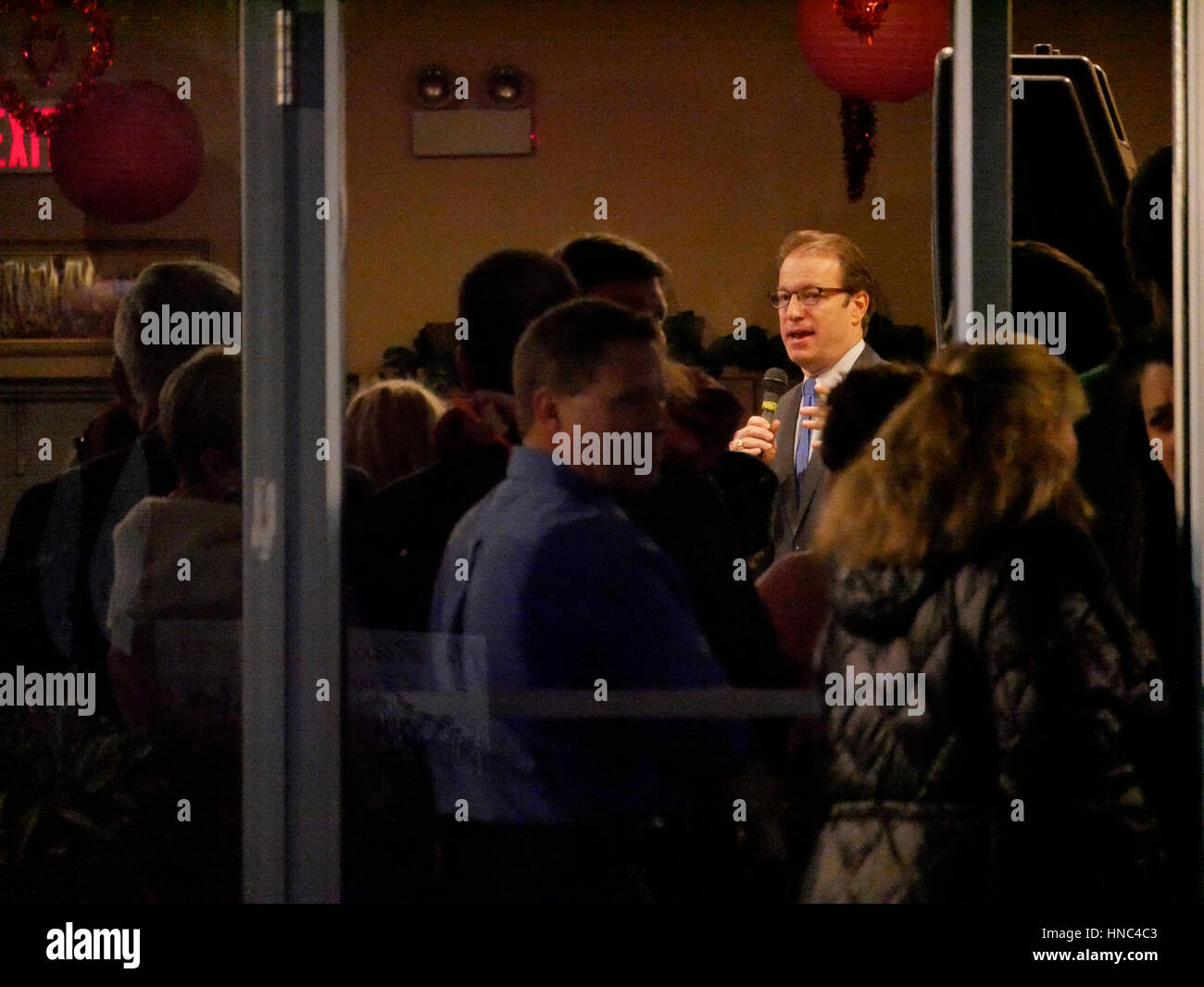 River Forest, Illinois USA. 10th February 2017. Illinois 6th District Republican Congressman speaks at a fundraising - Stock Image