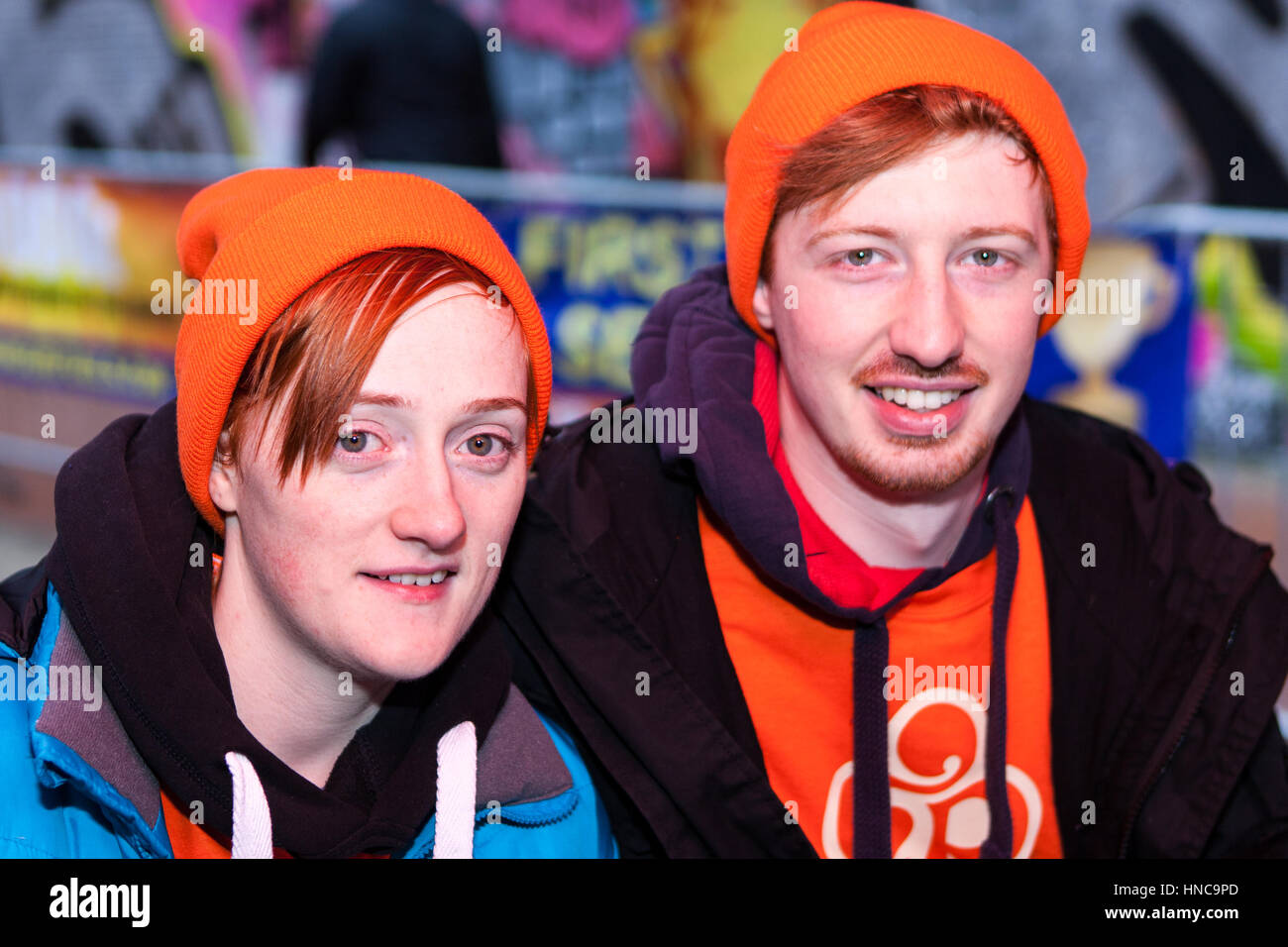 Belfast, UK. 11th Feb, 2017. Belfast 11th Frbruary 2017. Ginger haired people gathered in belfast to take part in - Stock Image